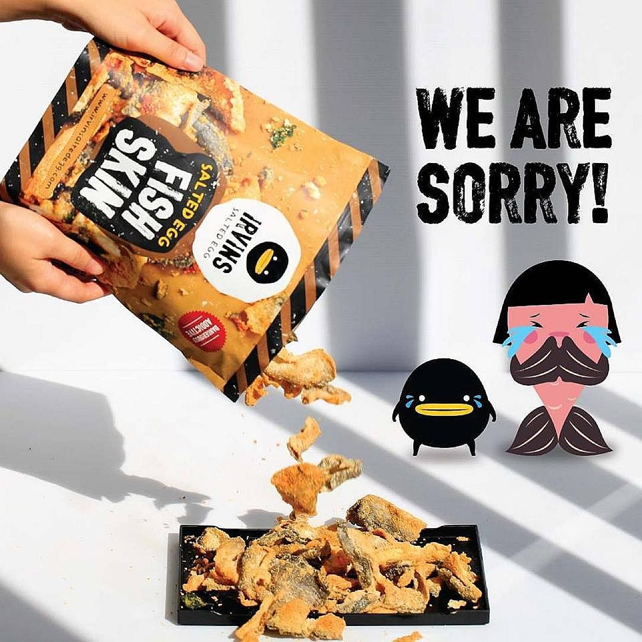 Ms Jane Holloway bought the snack in Bangkok in early November. Her brother initially thought the dead lizard was a baby salmon fish head. Irvins Salted Egg issued an apology yesterday. The Singapore-based food company is offering refunds for certain