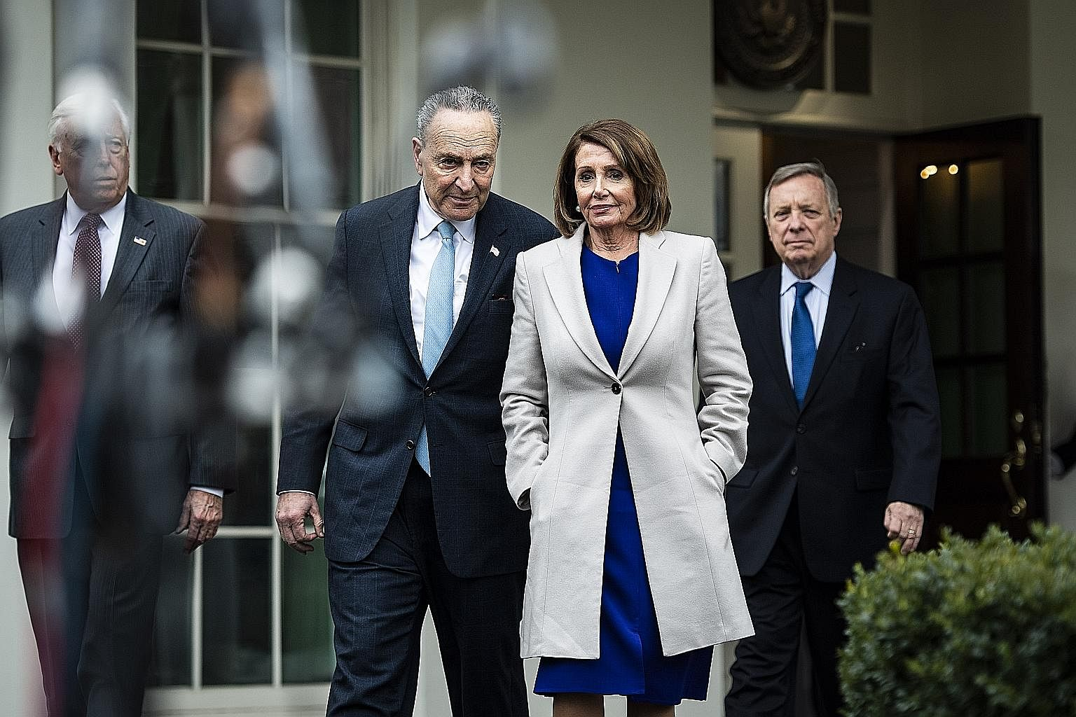 (From left) House Majority Leader Steny Hoyer, Senator Charles Schumer, House Speaker Nancy Pelosi and Senator Richard Durbin leaving a meeting with President Donald Trump on Friday. Democrats now have real power to subject Mr Trump to a level of scr