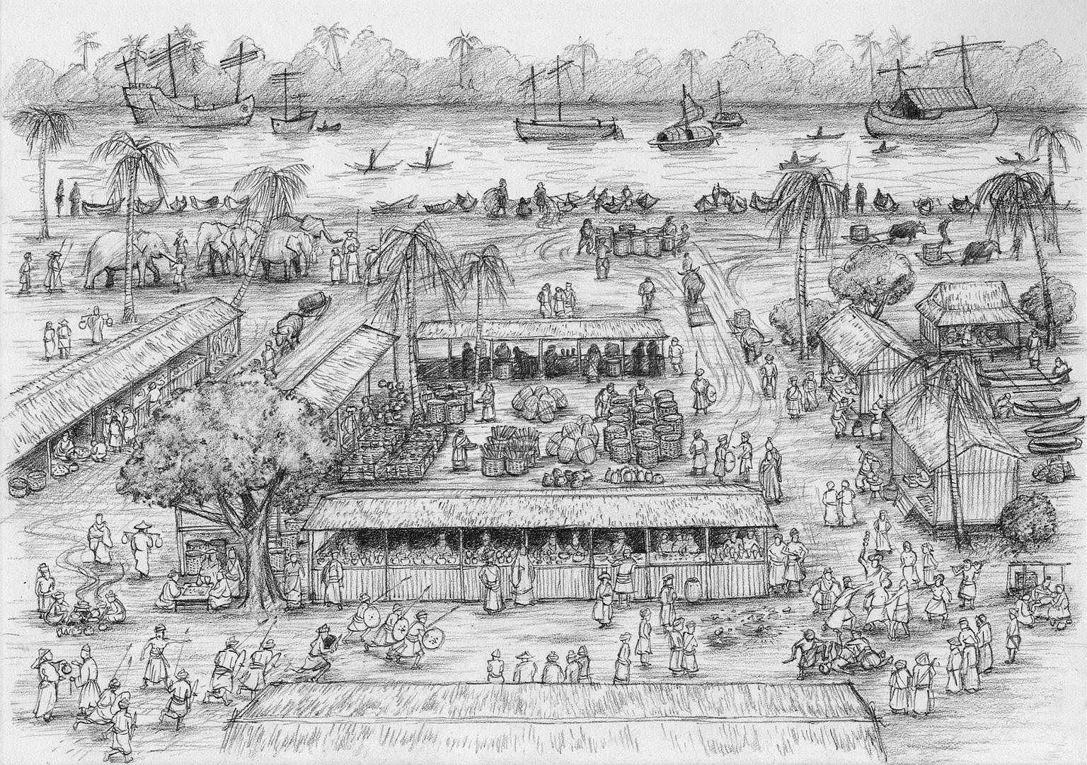 Before the pubs and restaurants moved in, coolies along the banks of the Singapore River in 1960 looked to storytellers for entertainment. Scenes from The Bicentennial Experience at Fort Canning Centre will include a depiction of Raffles and hi