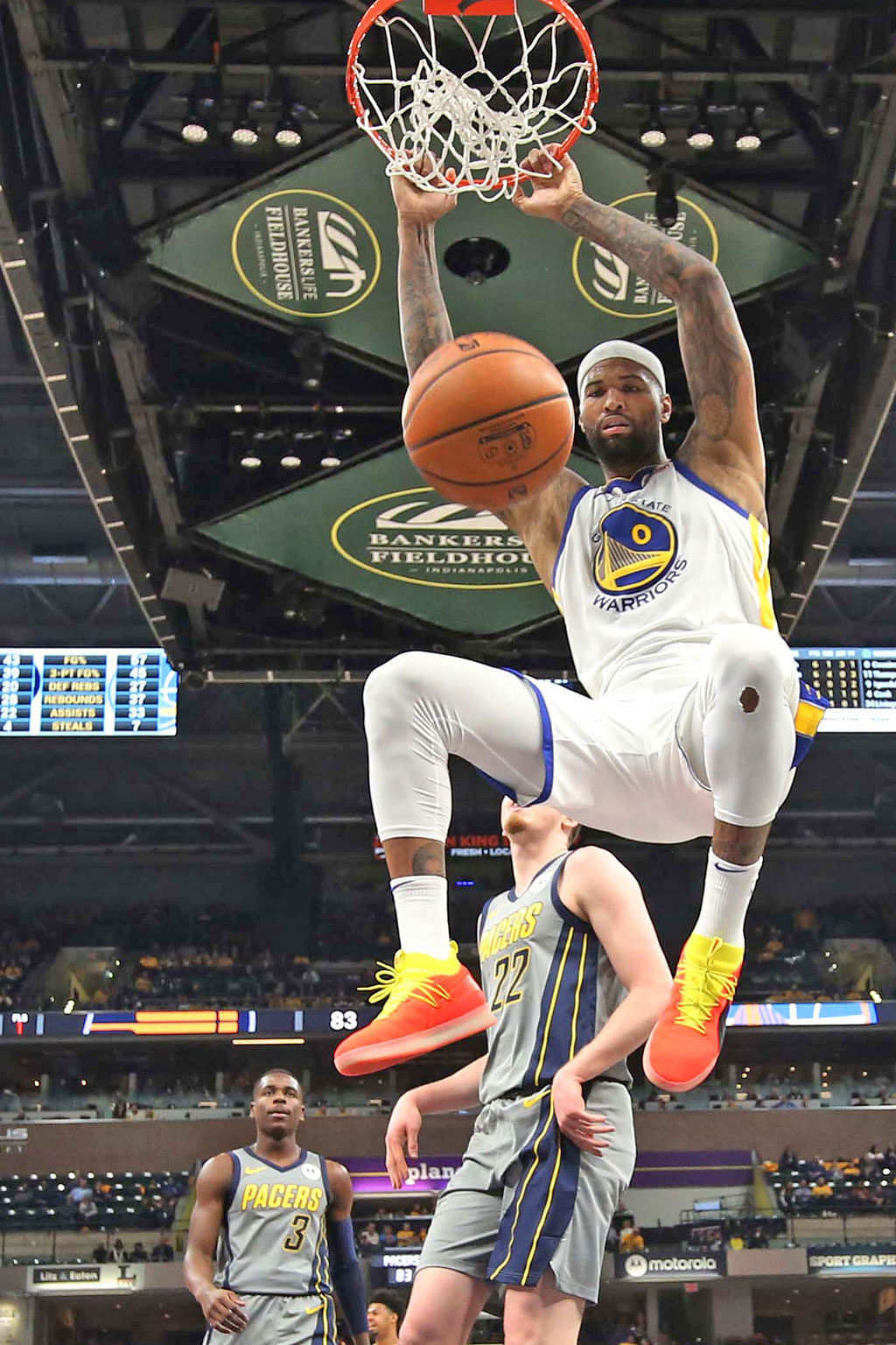 Golden State Warriors centre DeMarcus Cousins dunks against the Indiana Pacers during the fourth quarter of their 132-100 win at the Bankers Life Fieldhouse on Monday.