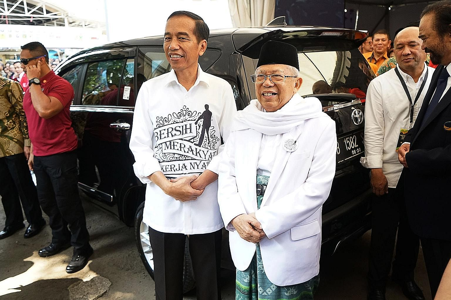 Indonesian President Joko Widodo with his running mate Ma'ruf Amin, who was seen as the weakest performer among the four candidates in the first presidential debate last month.