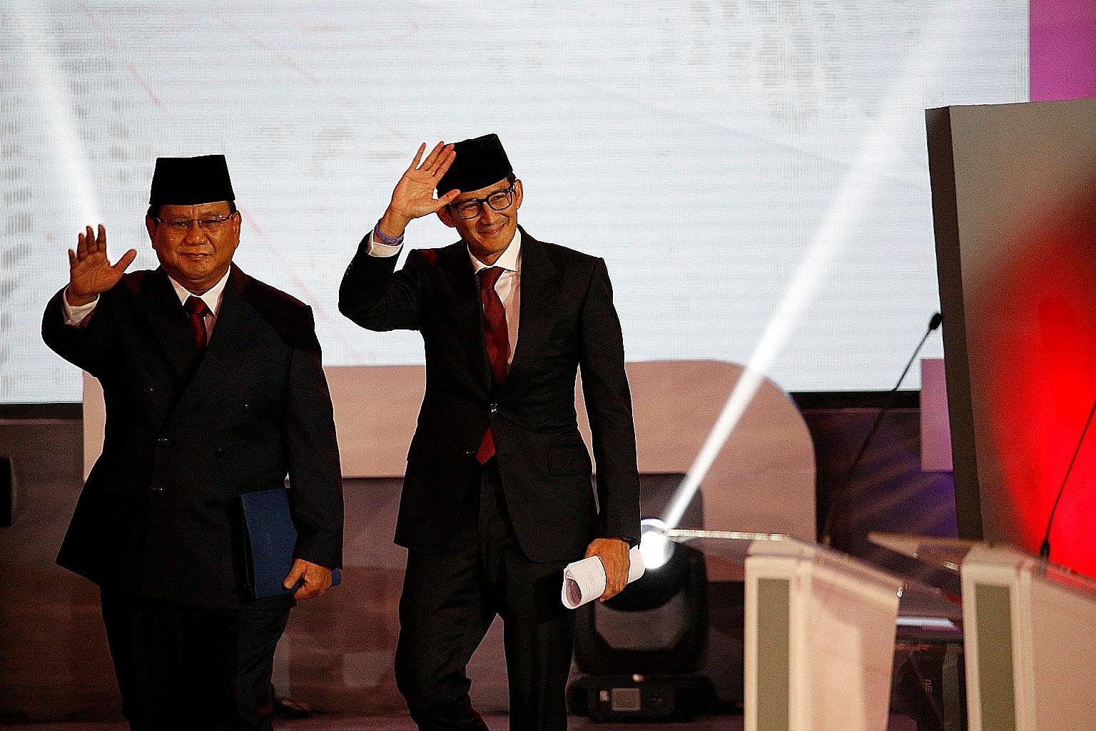 Indonesia's presidential candidate Prabowo Subianto (far left), seen here with his running mate Sandiaga Uno, says he is targeting achieving self-sufficiency in food, energy and water for the sprawling archipelago.