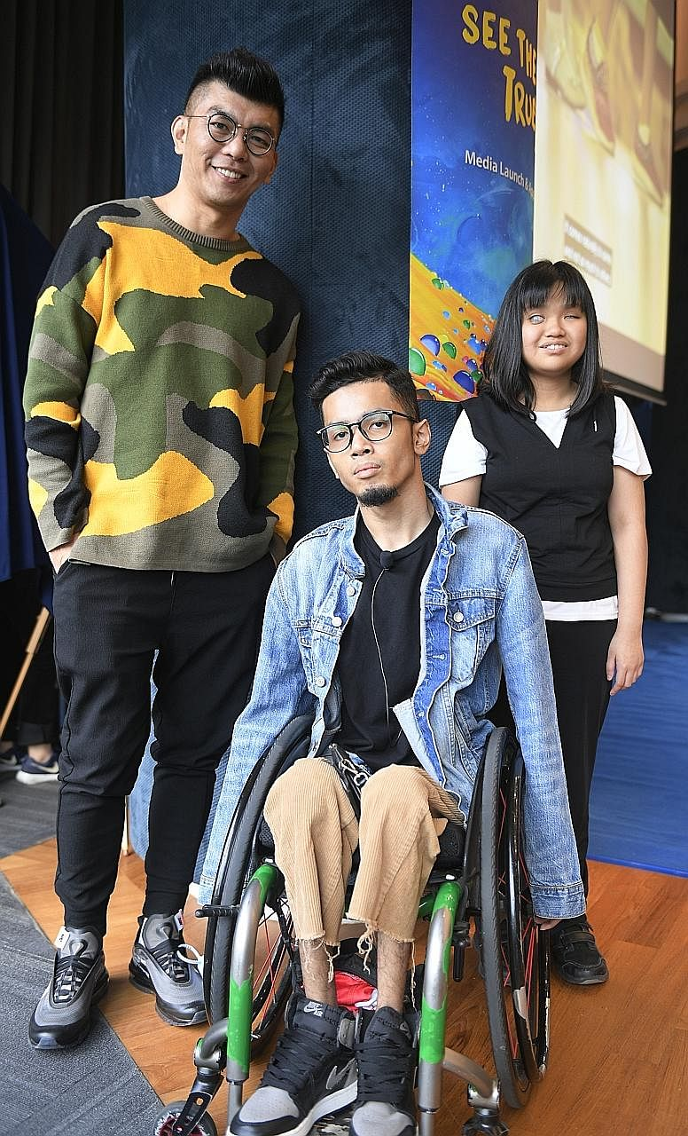 """A highlight of this year's """"See The True Me"""" campaign is the music video directed by filmmaker Royston Tan and performed by Mr Danial Bawthan, 24, also known as Wheelsmith, and Ms Adelyn Koh, 18, the lead singer, who is visually impaired. Far l"""