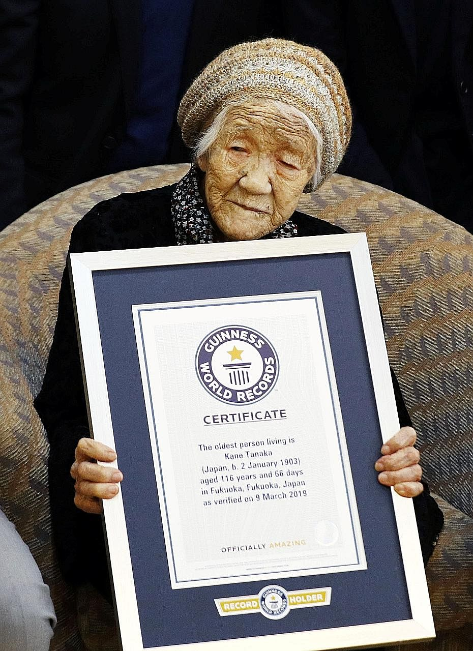 Madam Kane Tanaka is the world's oldest living person, said Guinness World Records. The title passed to her after another Japanese, Madam Chiyo Miyako, died last year at age 117. Madam Tanaka was born on Jan 2, 1903. She now lives in a nursing home i