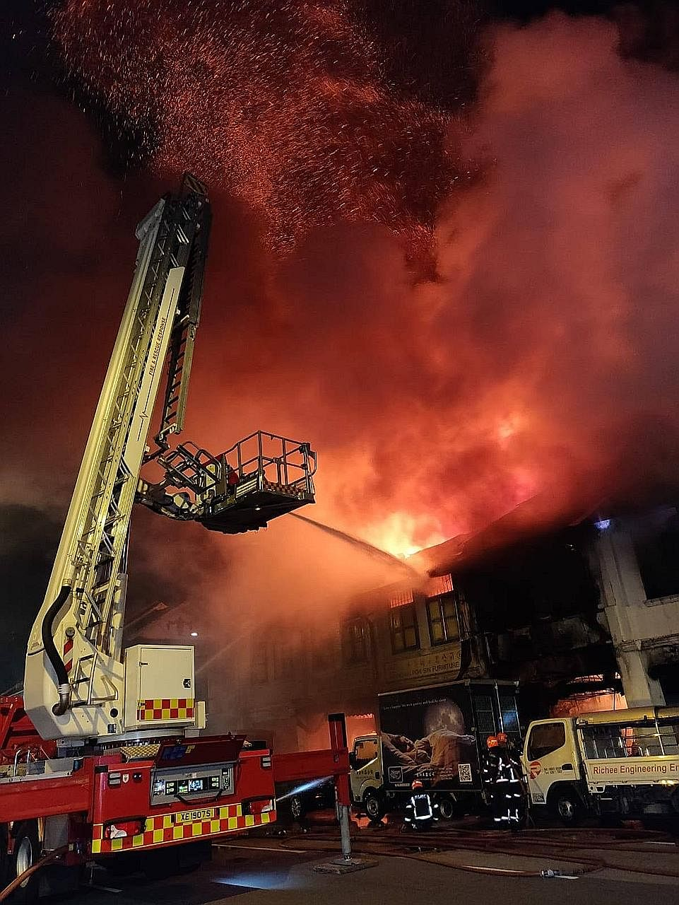 The Singapore Civil Defence Force was alerted to a fire at 643 Geylang Road early yesterday morning. About 60 firefighters and 17 emergency vehicles were deployed. Damping-down operations were later carried out to prevent the fire from rekindling.