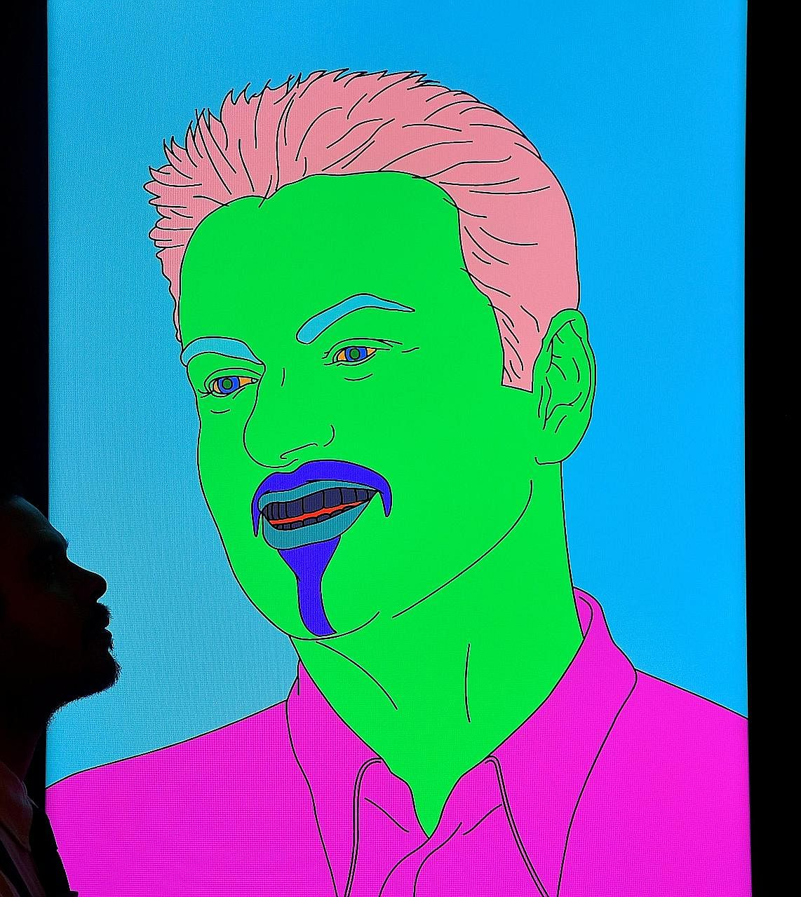 A portrait titled (George) by Michael Craig-Martin from George Michael's collection.