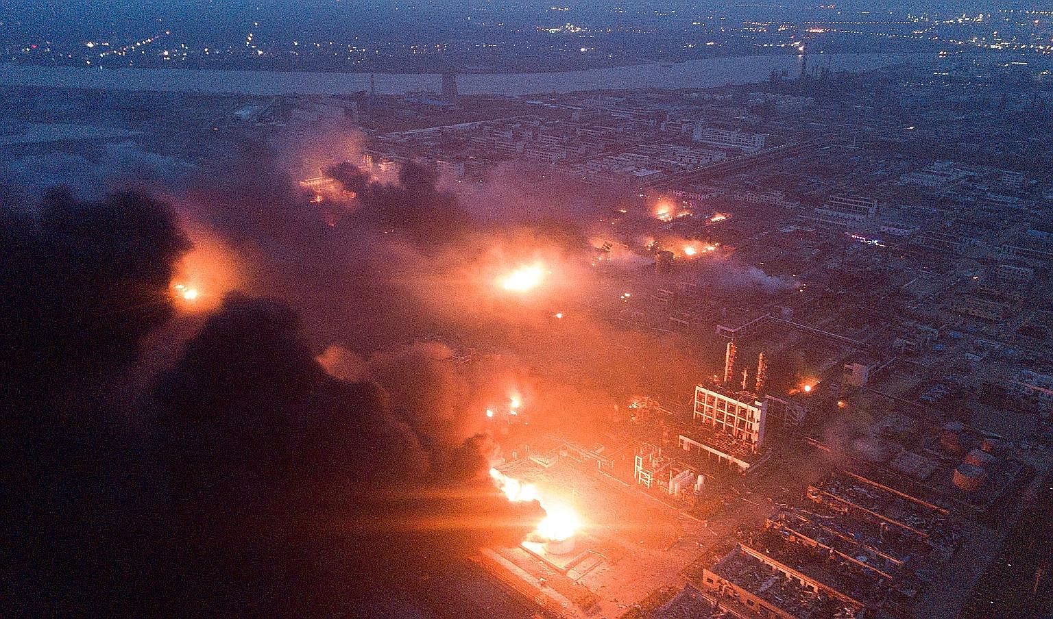 Smoke billowed from a fire at a chemical plant near Yancheng city, in China's eastern Jiangsu province, after a powerful explosion killed at least 62 people and injured 640 others on Thursday. The blast at the Jiangsu Tianjiayi Chemical Company in th