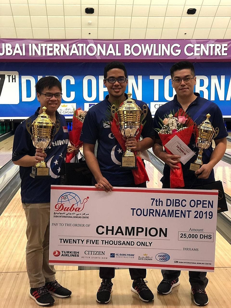 Timothy Tham, Muhd Danial and Marcus Lim make it an all-Singapore podium at the 7th DIBC Open Bowling Tournament.