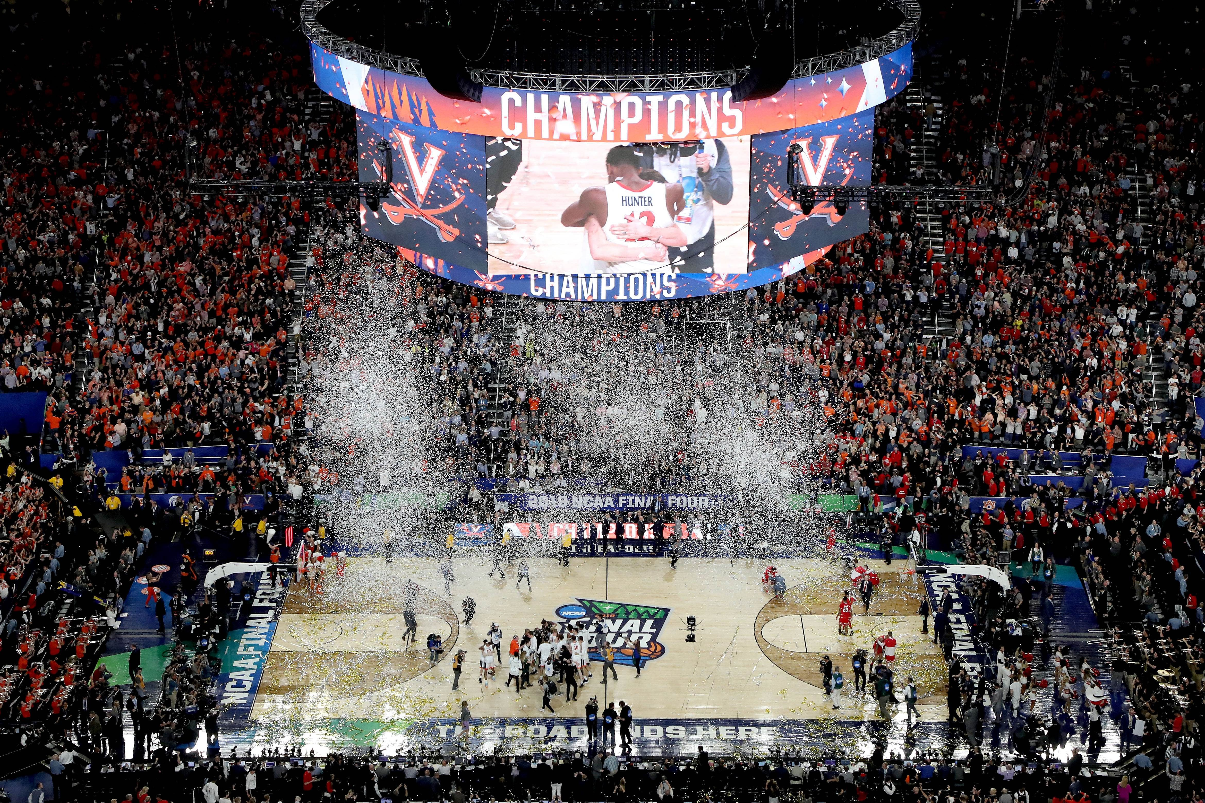 factory price 83675 58499 The Virginia Cavaliers celebrate their teams 85-77 win over the Texas Tech  Red Raiders to win the the 2019 NCAA men s Final Four National Championship  game ...