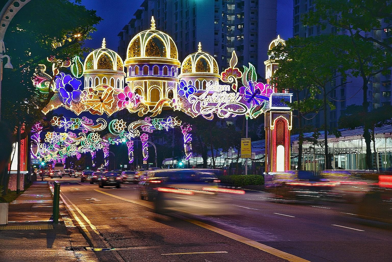 A 15.4m-high and 23m-wide arch along Sims Avenue features a mosque with golden domes surrounded by full blooms that symbolise a new beginning and renewed bonds of friendship and kinship. The decoration is part of the annual Hari Raya light-up, which