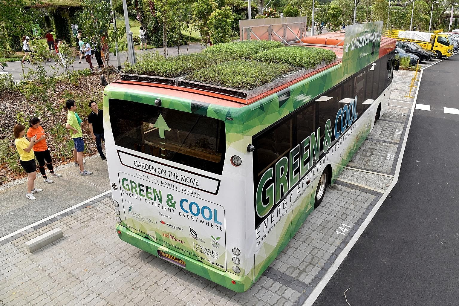 a green bus - with a garden on its roof. Singapore's first public buses with plants on top hit the road yesterday. The initiative by urban greenery specialist GWS Living Art is part of a three-month study to see wh