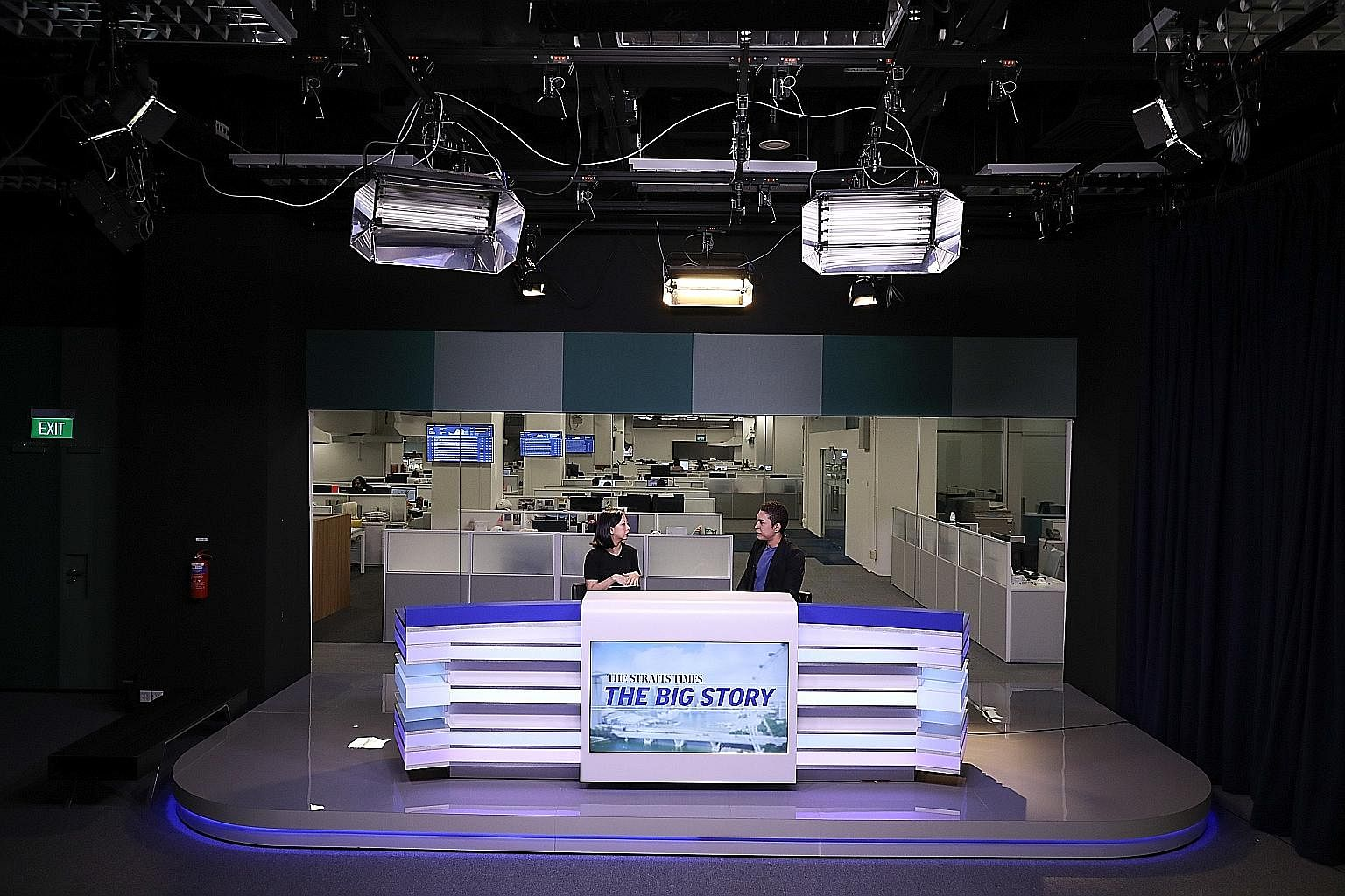 ST Life reporter Jan Lee and multimedia journalist Hairianto Diman in a rehearsal for The Big Story talk show, which will take place at 5.30pm on weekdays.