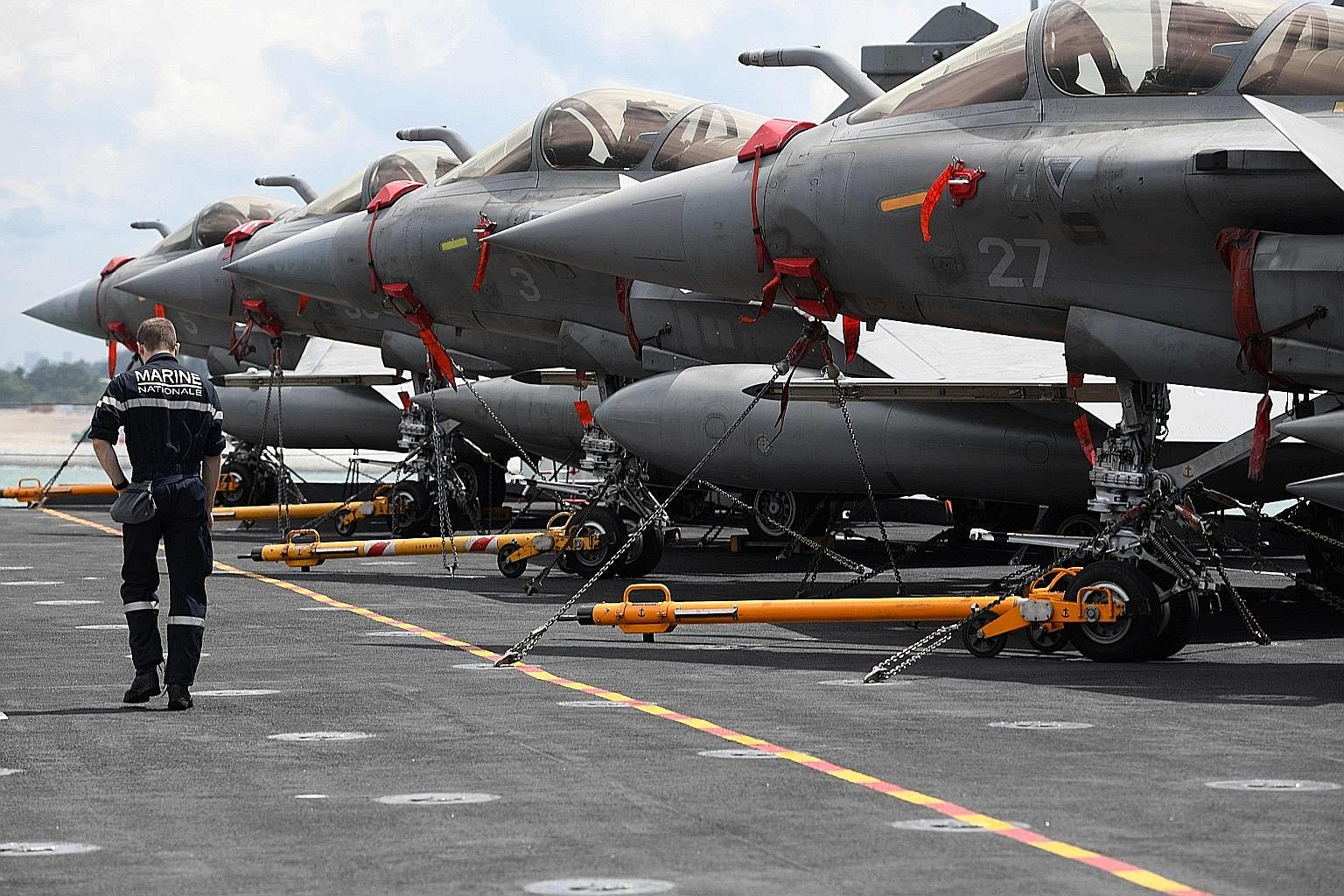 French aircraft carrier Charles de Gaulle at the Changi Naval Base on Tuesday. South-east Asia can reiterate the importance of norms such as freedom of navigation in the South China Sea, to help manage US-China competition, says the writer.