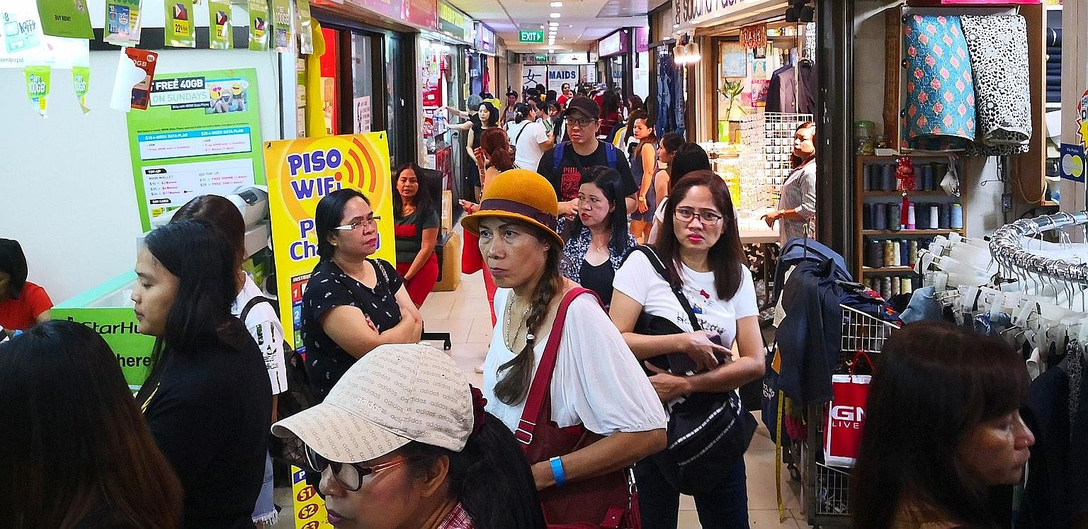 Some shops on this stretch of the fourth floor in Lucky Plaza have been rented out to maids who peddle counterfeit luxury handbags, unregistered slimming pills and contraceptives on their days off. Their goods also include unapproved beauty products,