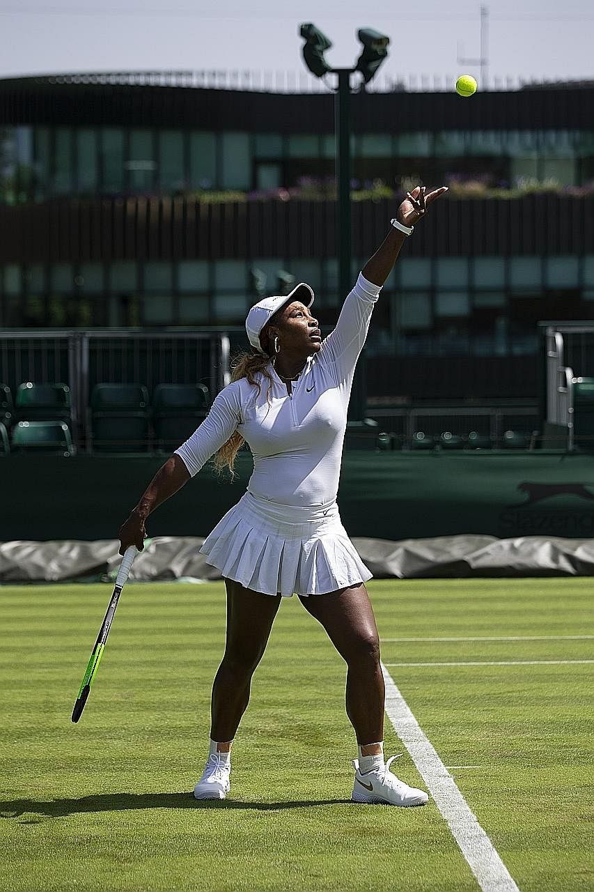 Serena Williams at a training session in Wimbledon on Friday. If she is healthy, she can pose a threat to any woman on grass, even as a 37-year-old seeking her first tournament title in 2½ years.