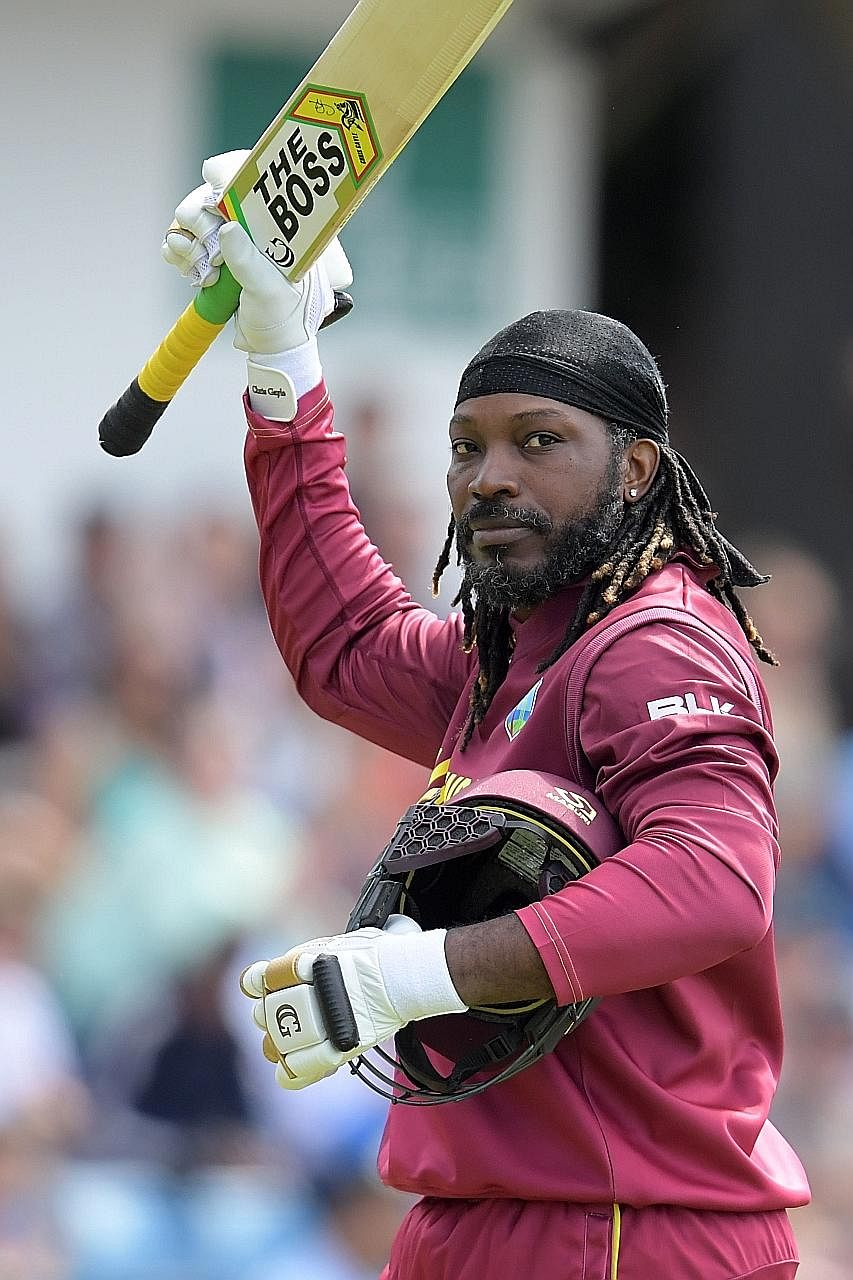 West Indies' self-styled Universe Boss Chris Gayle acknowledging the crowd's cheers after losing his wicket for seven against Afghanistan at Headingley in Leeds on Thursday.