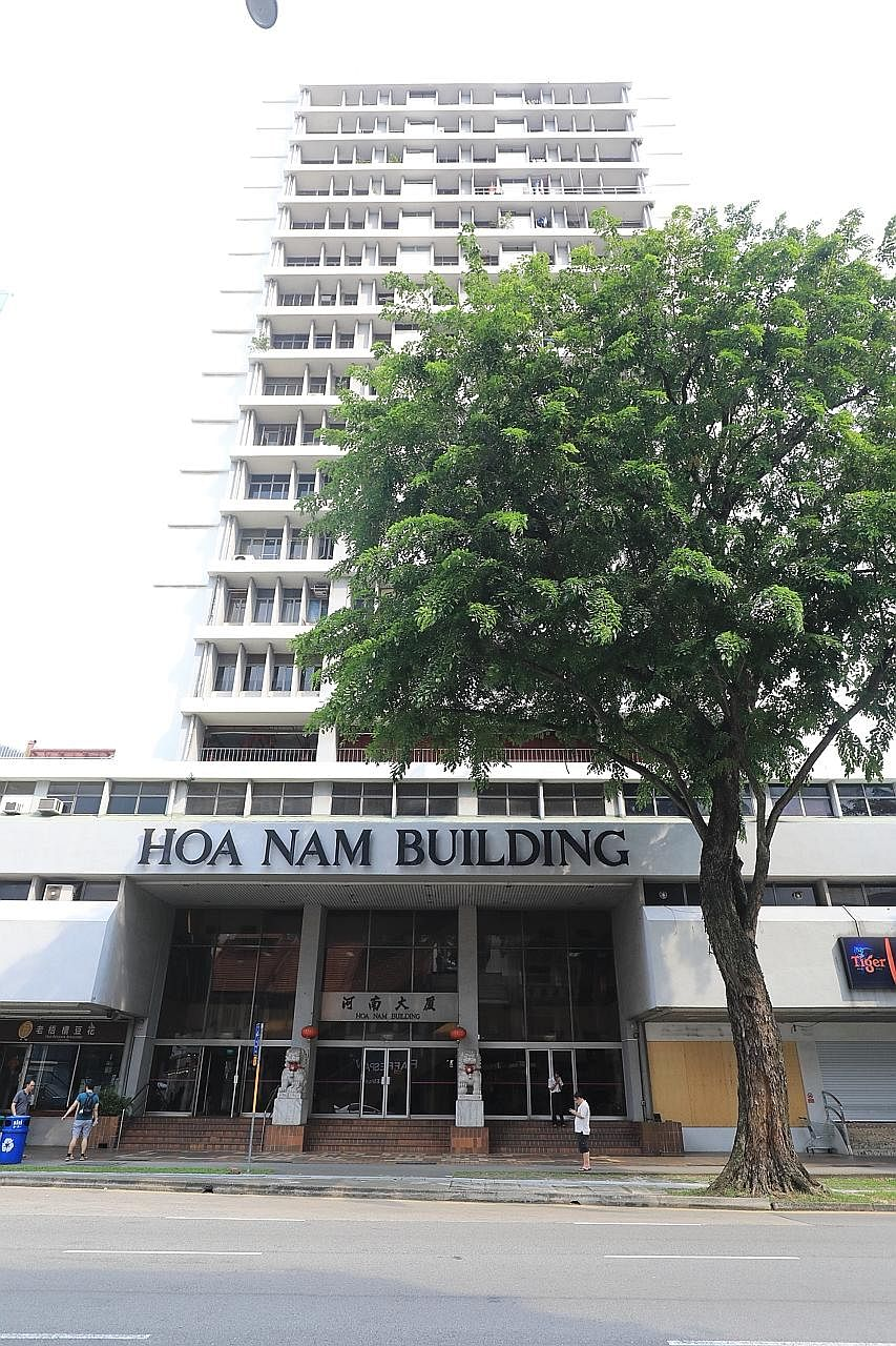Hoa Nam Building (above) in Foch Road is asking for $160 million and the tender for Sultan Plaza (right) in Jalan Sultan is being relaunched with the same reserve price of $380 million.