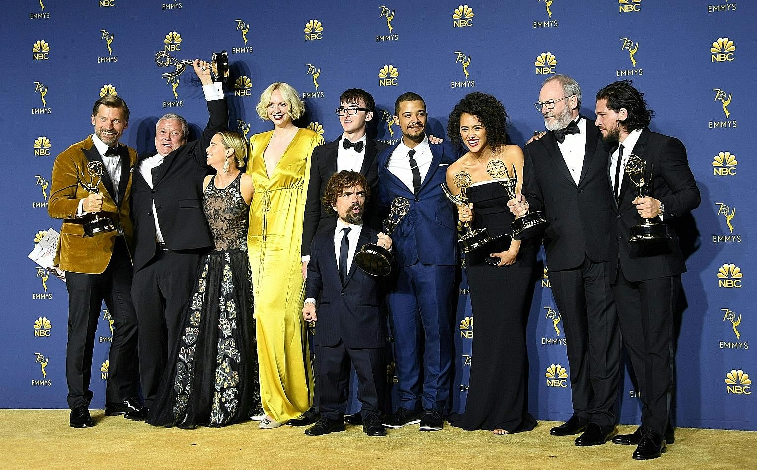 The Game Of Thrones cast posing with their awards haul at last year's Emmy Awards in Los Angeles.
