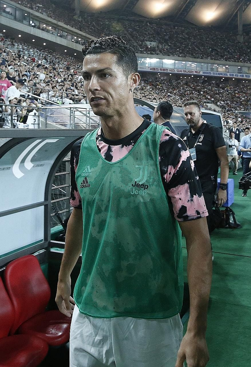 Juventus star forward Cristiano Ronaldo before the friendly against the K-League all-star team at the Seoul World Cup Stadium last week. He did not play a single second of the match despite organisers saying he was obliged to play for at least 45 min