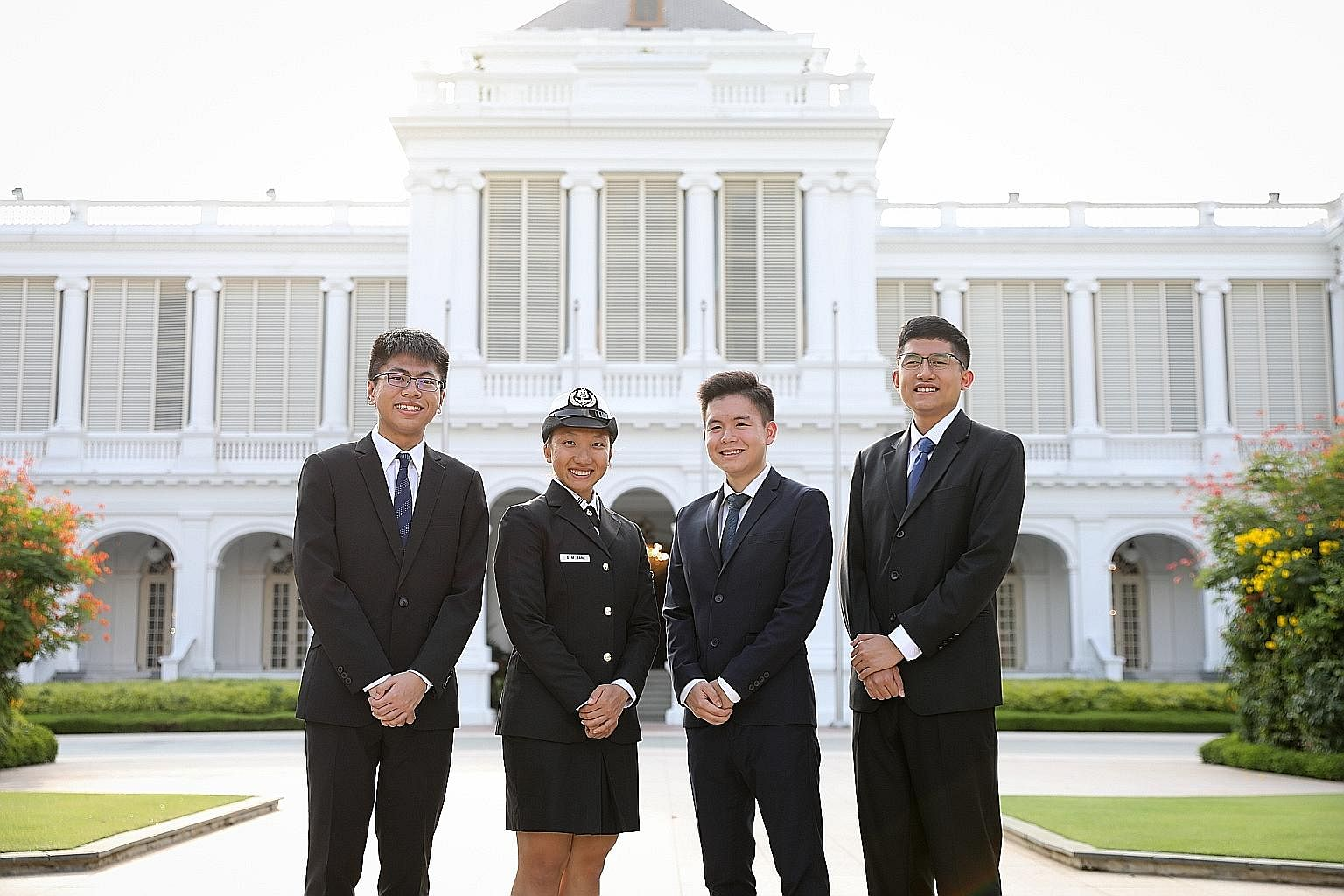 Four 19-year-olds received the President's Scholarship at the Istana yesterday. Ms Allison Tan Sue Min is a dancer from the School of the Arts who has joined the navy, while Mr Siow Mein Yeak, Yue (third from left), from Victoria Junior College, will