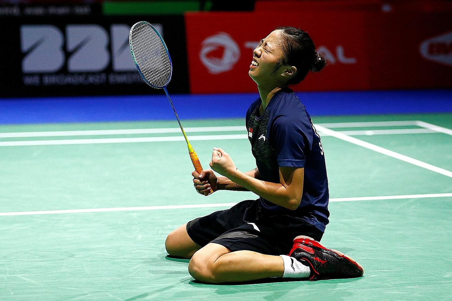 Singaporean shuttler Yeo Jia Min celebrating her 21-15, 14-21, 21-16 win over Vu Thi Trang of Vietnam at the BWF World Championships in Basel, Switzerland, yesterday. With her win, Yeo, 20, became the first Singaporean woman to reach the singles quar