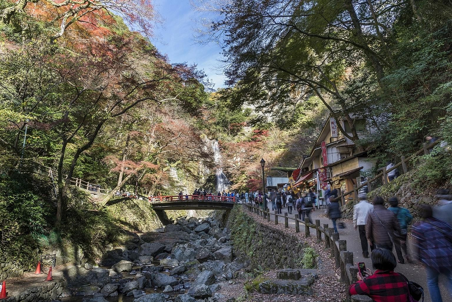 Forested Minoo Park's hidden attraction is its 33m waterfall.