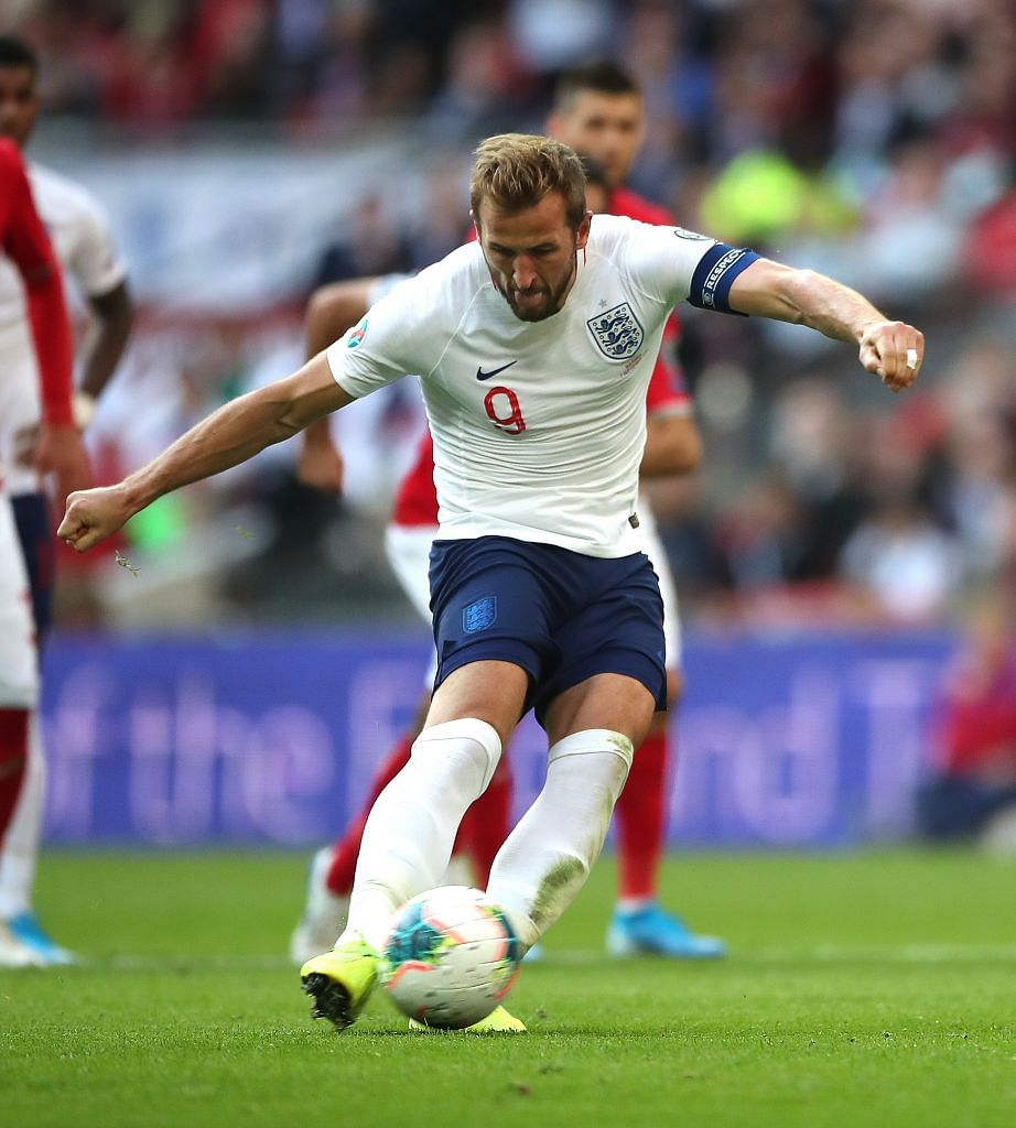 Harry Kane scoring his second penalty against Bulgaria at Wembley on Saturday, taking him past Geoff Hurst and Stan Mortensen to 14th place on the list of England's all-time goalscorers.