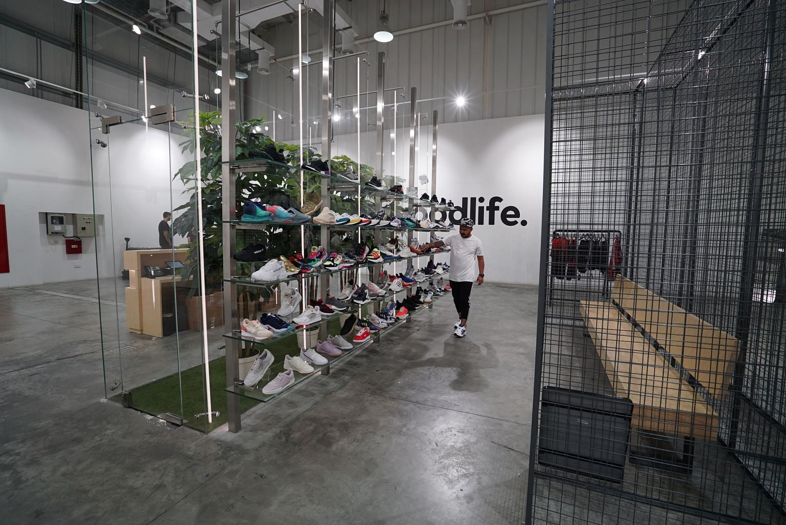 Sneaker boutique thegoodlife sells hard-to-find sneakers. It is located in Alserkal Avenue, an arts district in an industrial zone of Dubai.