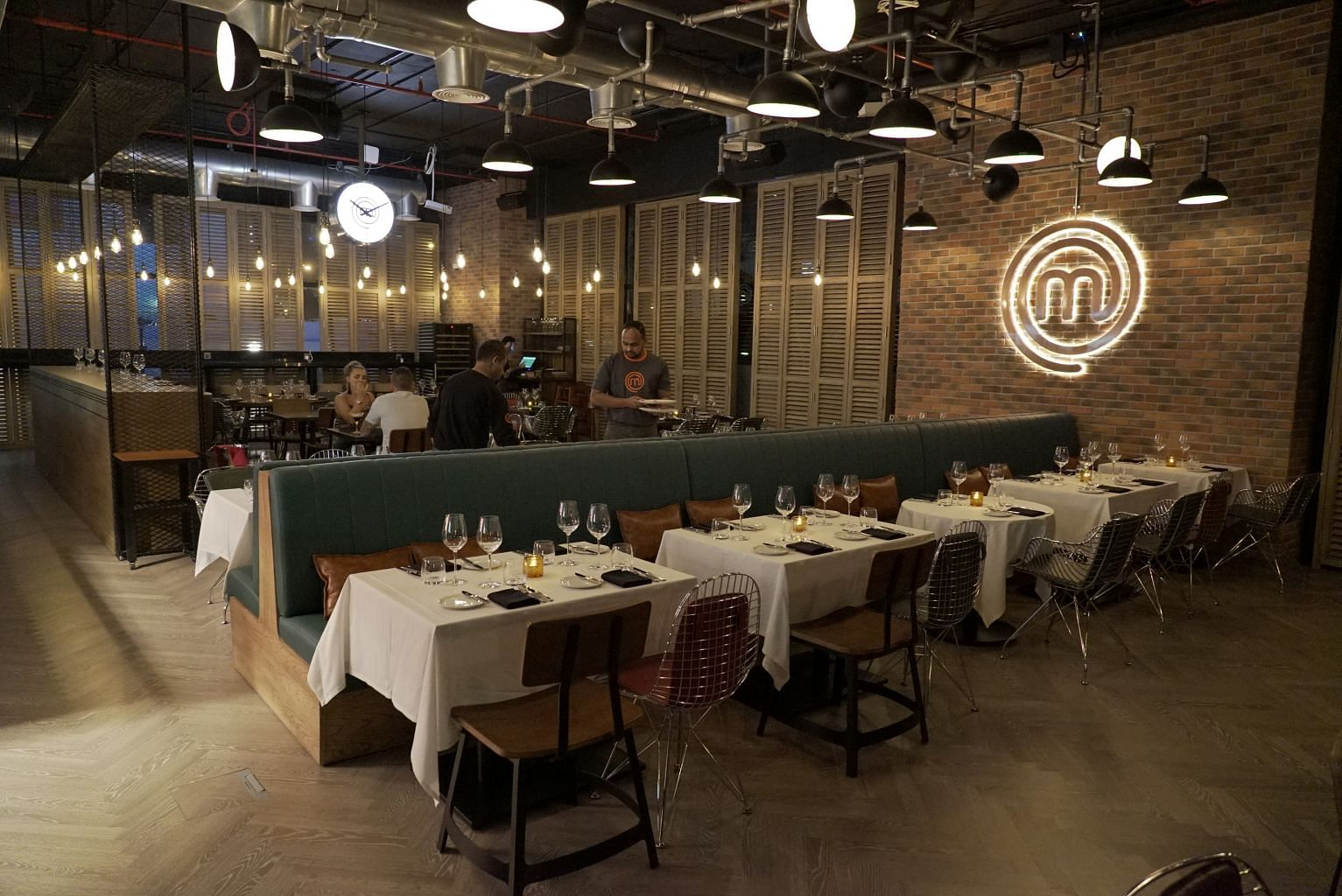 The interior of MasterChef, The TV Experience restaurant, which is based on the popular reality TV show MasterChef.