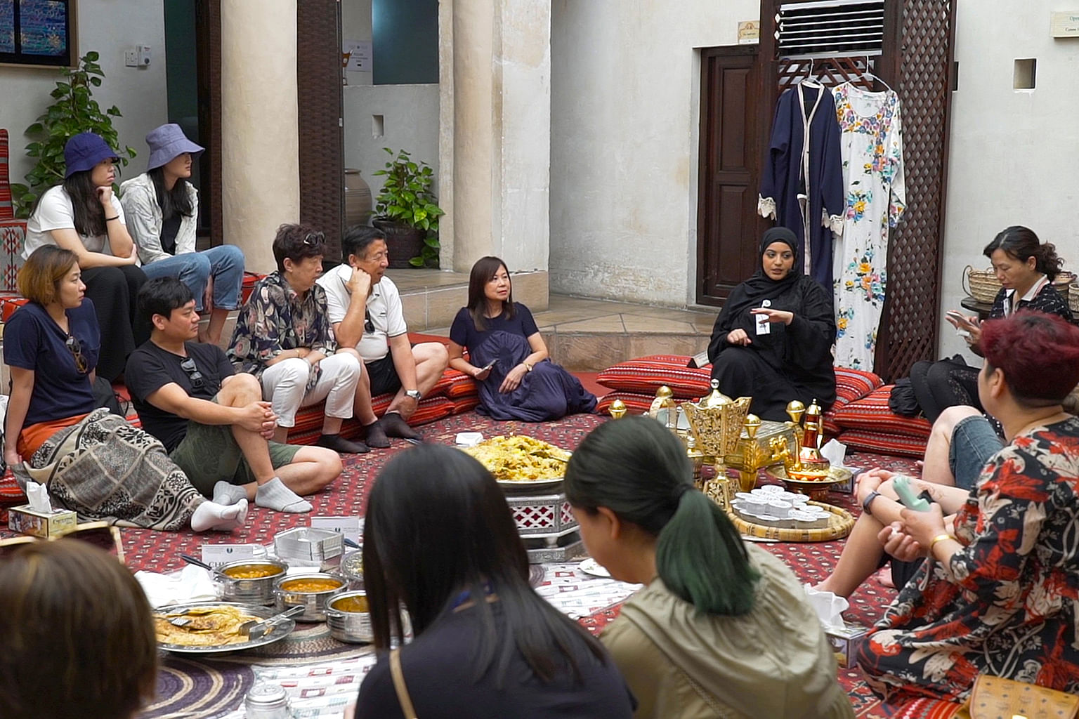 """Ms Farhayah Salameh Younis, a presenter from the Sheikh Mohammed Centre for Cultural Understanding, answers """"inconvenient"""" questions from visitors."""