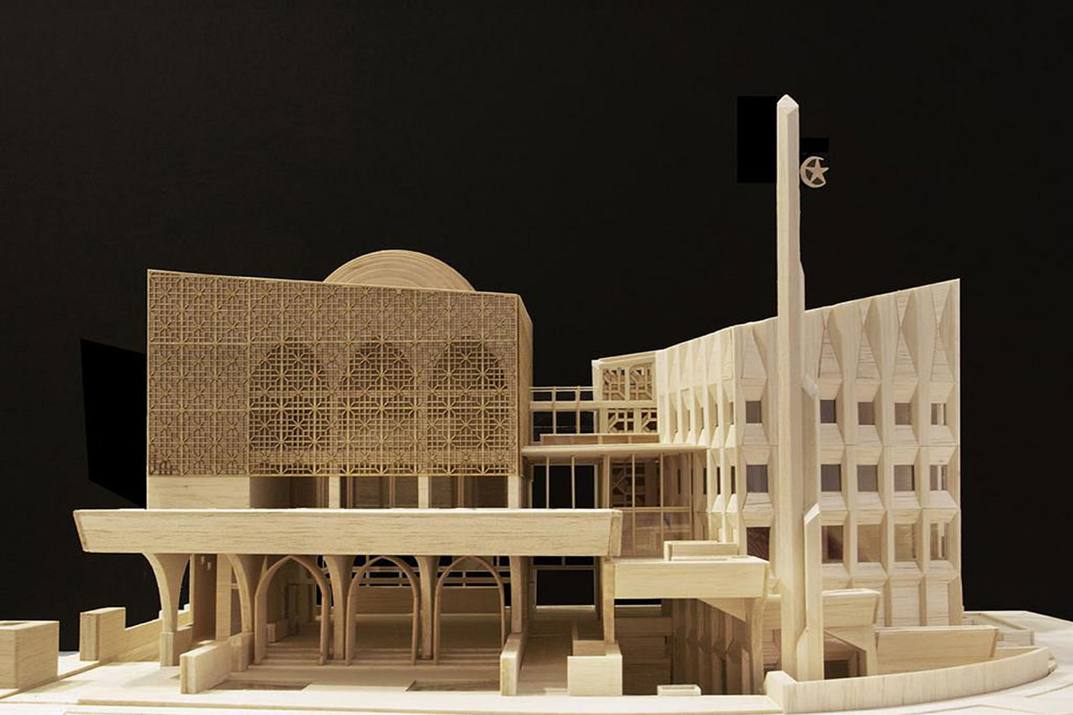 A large display model of Al-Islah Mosque in Punggol, designed by Formwerkz Architects, is on show at the Making Architecture exhibition.