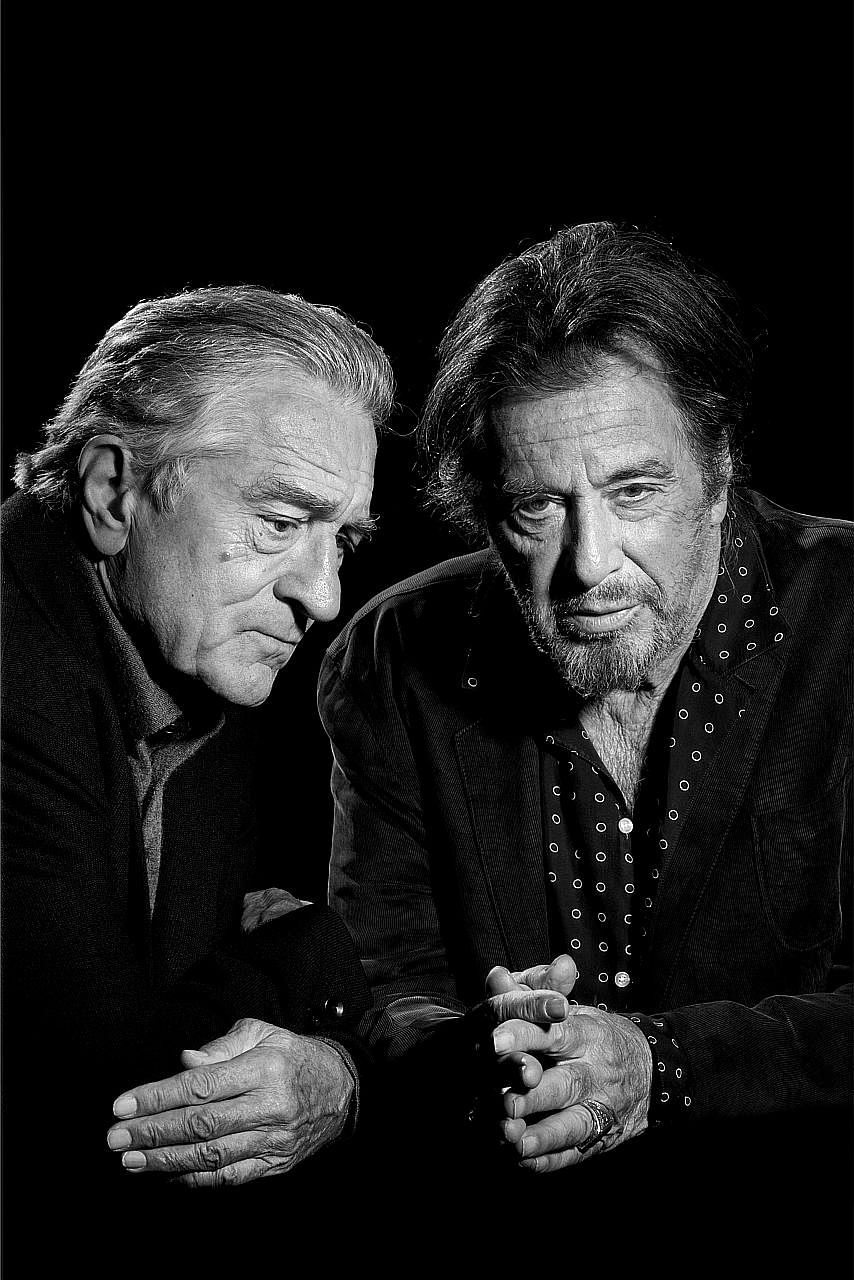 Robert De Niro (far left) and Al Pacino have known each other since the 1960s, but The Irishman is only the third time they appear on screen together.