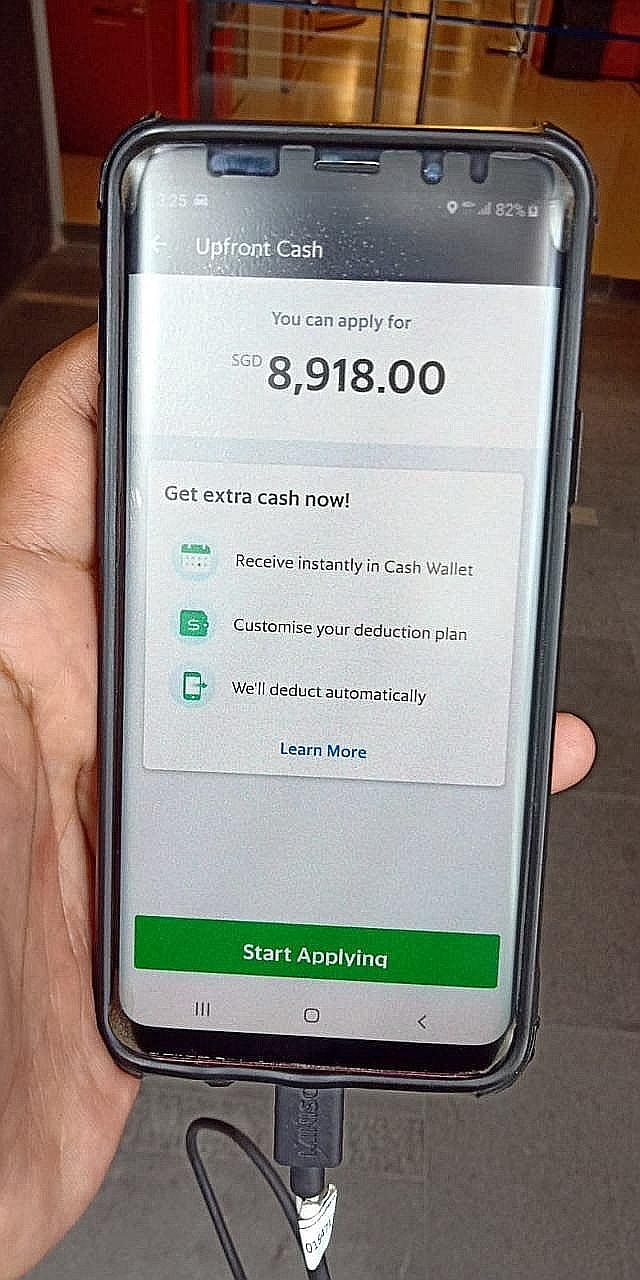 An image circulating on Telegram about Grab's Upfront Cash scheme that lets workers get hold of part of their projected future earnings.
