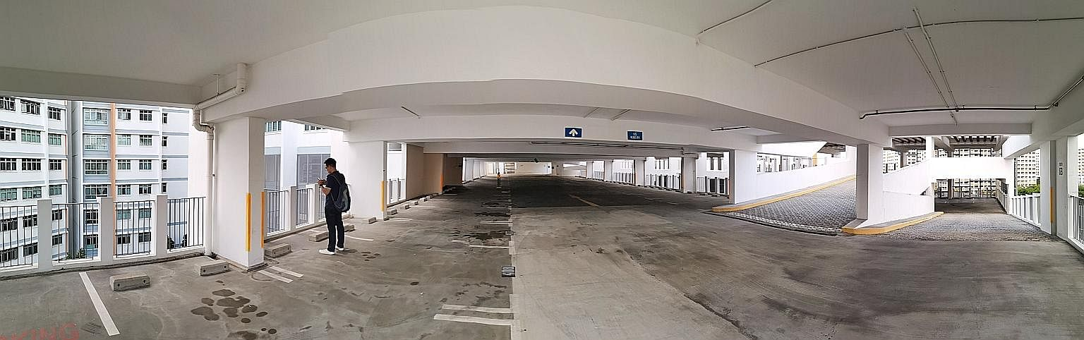The carpark at Block 526B Pasir Ris Street 51, where 13-year-old student Carlyn Wee fell to her death. She was believed to have lost control of her bicycle while cycling down a ramp on the sixth level. She reportedly collided into a metre-high rail o