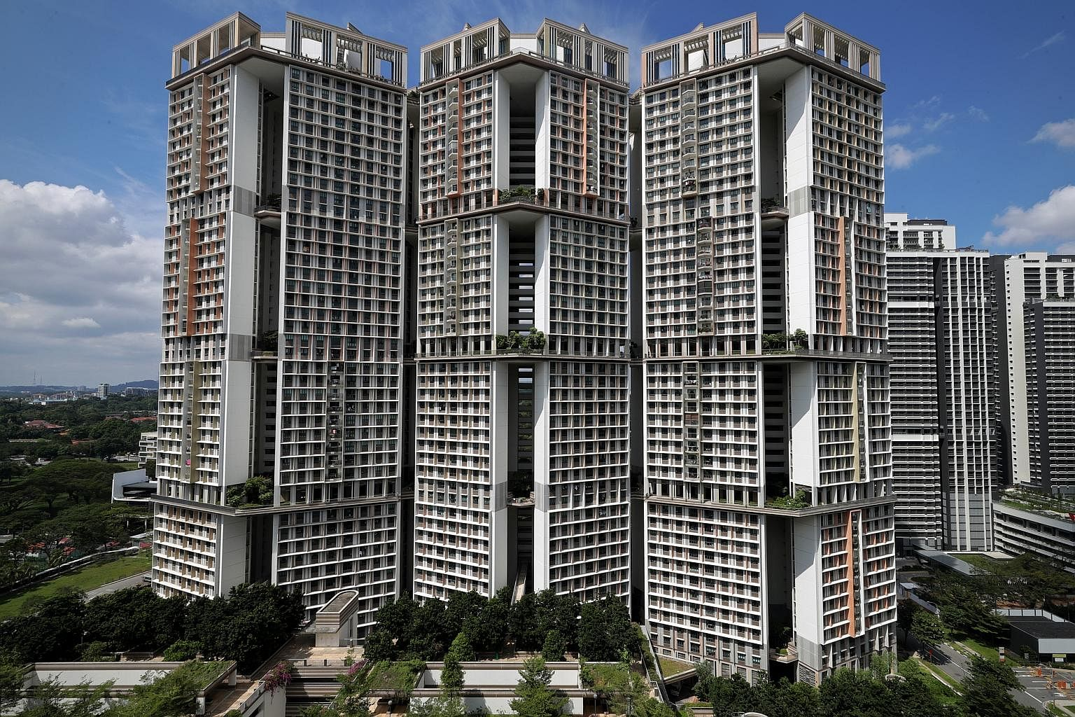 The unique Y-shaped Block 53 Toa Payoh Lorong 5, as seen from Gem Residences. The block w