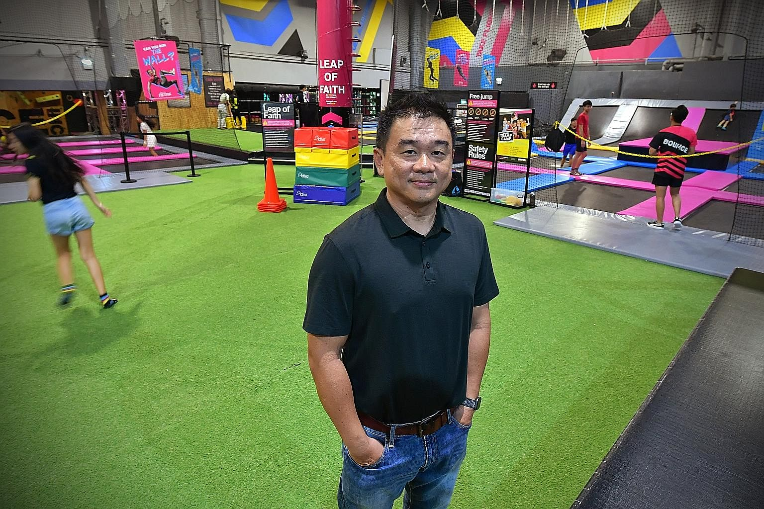 Mr David Lim, who manages trampoline park Bounce Singapore, virtual reality arcade Zero Latency and treetop obstacle course Forest Adventure, says business is down by about 60 per cent year on year, as knock-on effects of the coronavirus outbreak - i