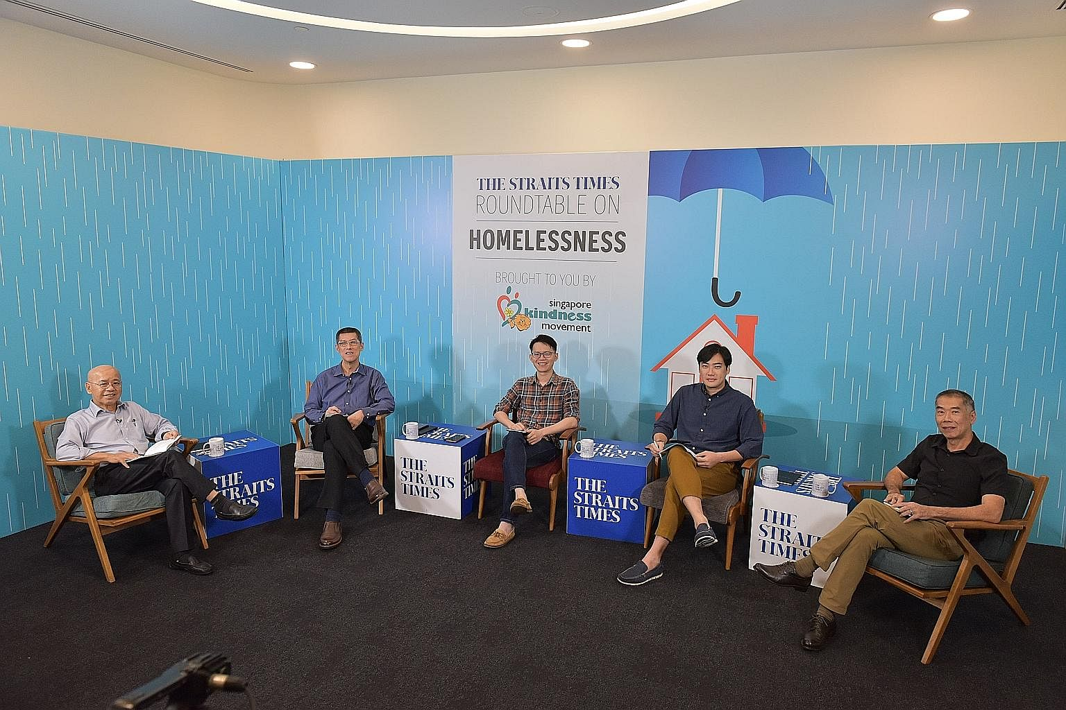 (From second left) Mr Lee Kim Hua, senior director of the Peers office at the Ministry of Social and Family Development; Mr Abraham Yeo, co-founder of Homeless Hearts of Singapore; Dr Harry Tan, a postdoctoral research fellow from the department of s