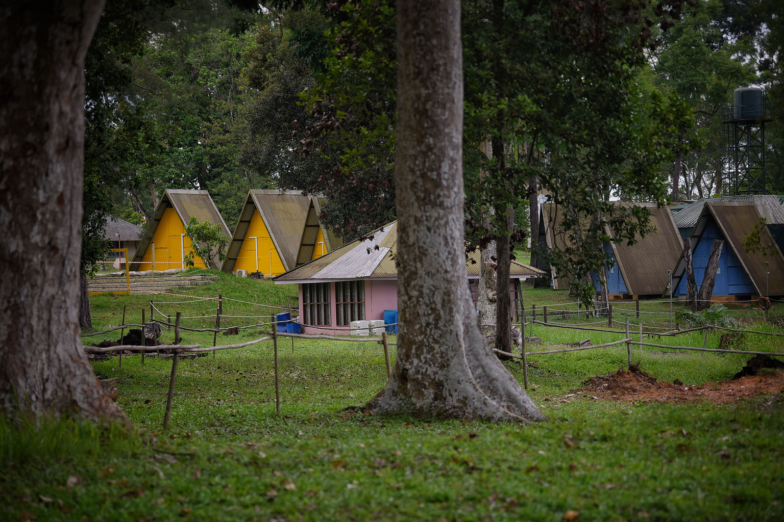 Sarimbun Scout Camp in Lim Chu Kang, one of the premises being used to house foreign workers. Marquees at Tanjong Pagar Terminal on Wednesday. A large facility is being set up that could house up to 15,000 Covid-19 patients or foreign workers, as the