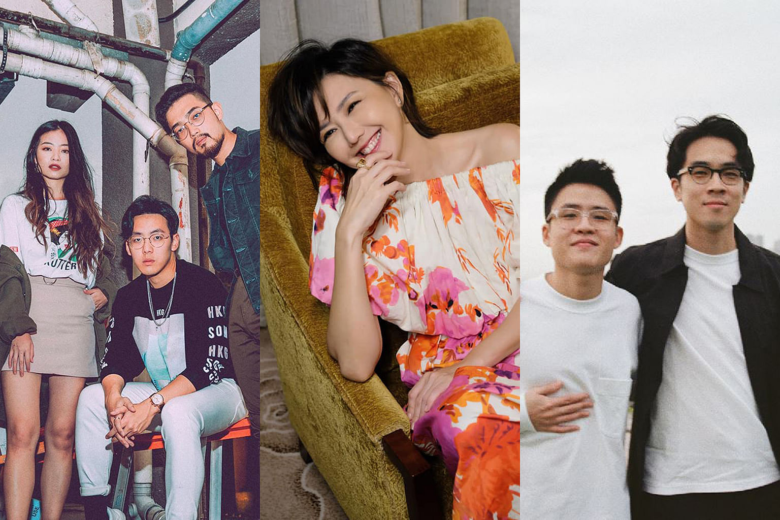 Listen to home-grown musicians such as (from left) HE1ST, Stefanie Sun, Gentle Bones and Charlie Lim on Spotify.