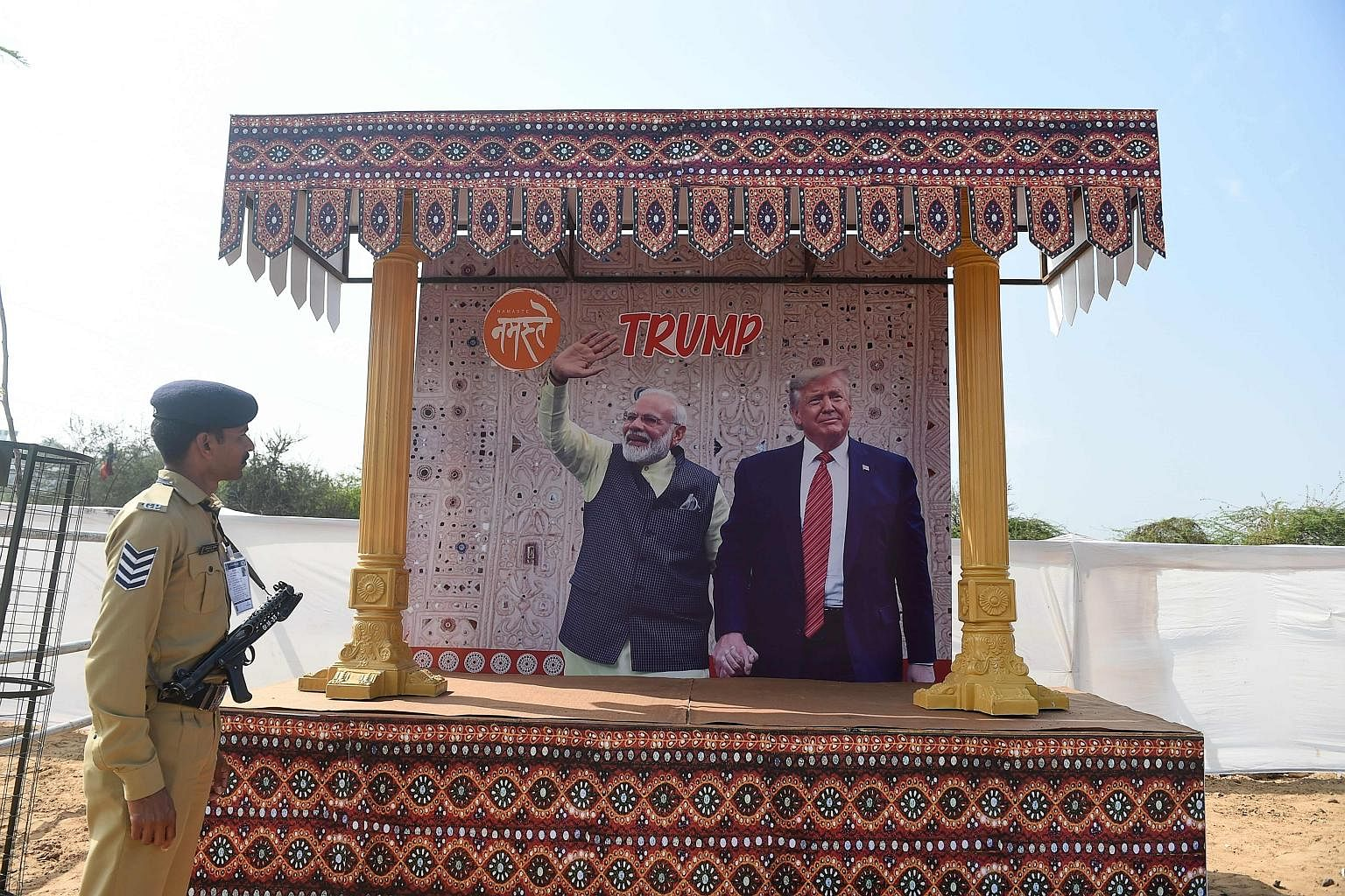 A billboard showing Indian Prime Minister Narendra Modi and US President Donald Trump in Ahmedabad. India's ties with the US have strengthened even as it tries not to escalate tensions with China.