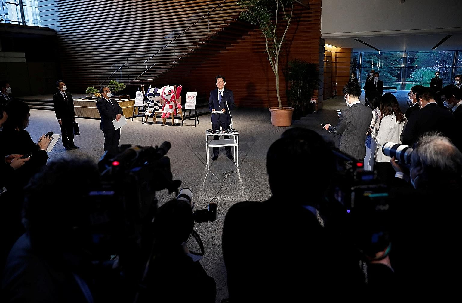 Japan's Prime Minister Shinzo Abe speaking to the media on Covid-19 last month. He has noted the fragility of Japan's supply chain due to over-reliance on China, which has crippled key industries during the pandemic.