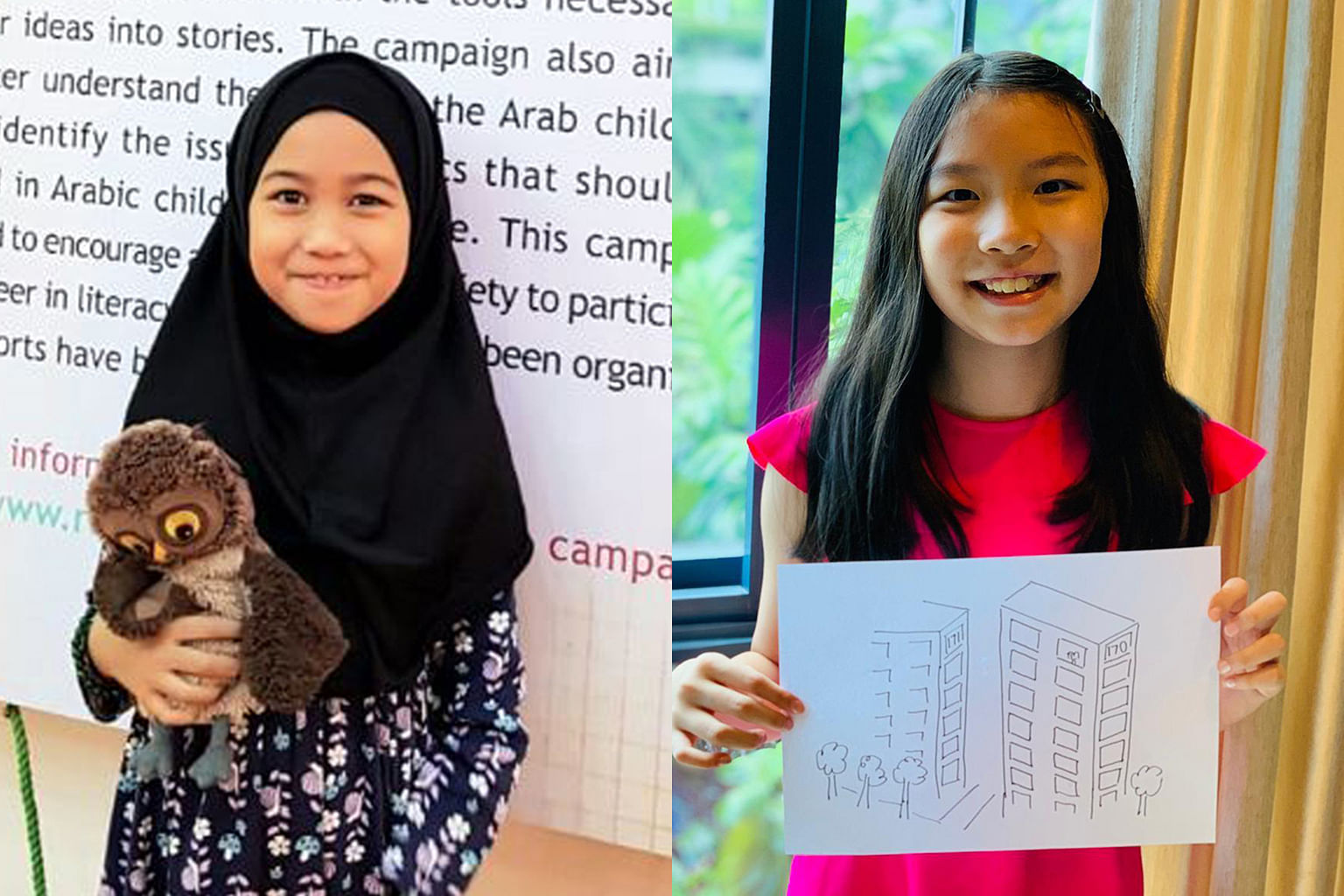 Singaporeans Nuha Zahra Mohamad Adil (left) and RaeAnne Tse (right) worked with their respective families to create their own children's books.