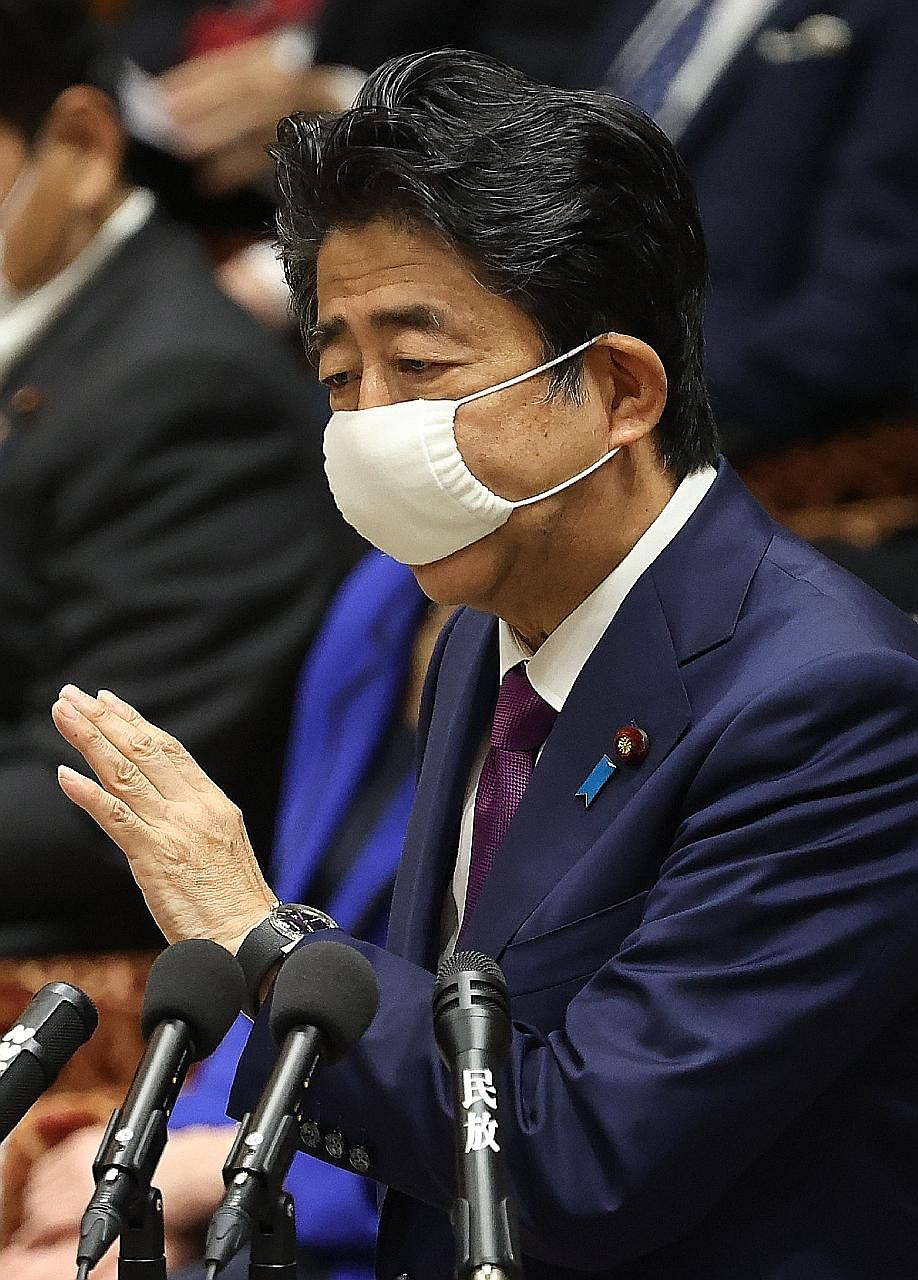 Japanese Prime Minister Shinzo Abe speaking in Parliament yesterday. Tokyo had already issued a statement independently on May 28 expressing serious concern about the new security law being drafted for Hong Kong, and also called in the Chinese ambass