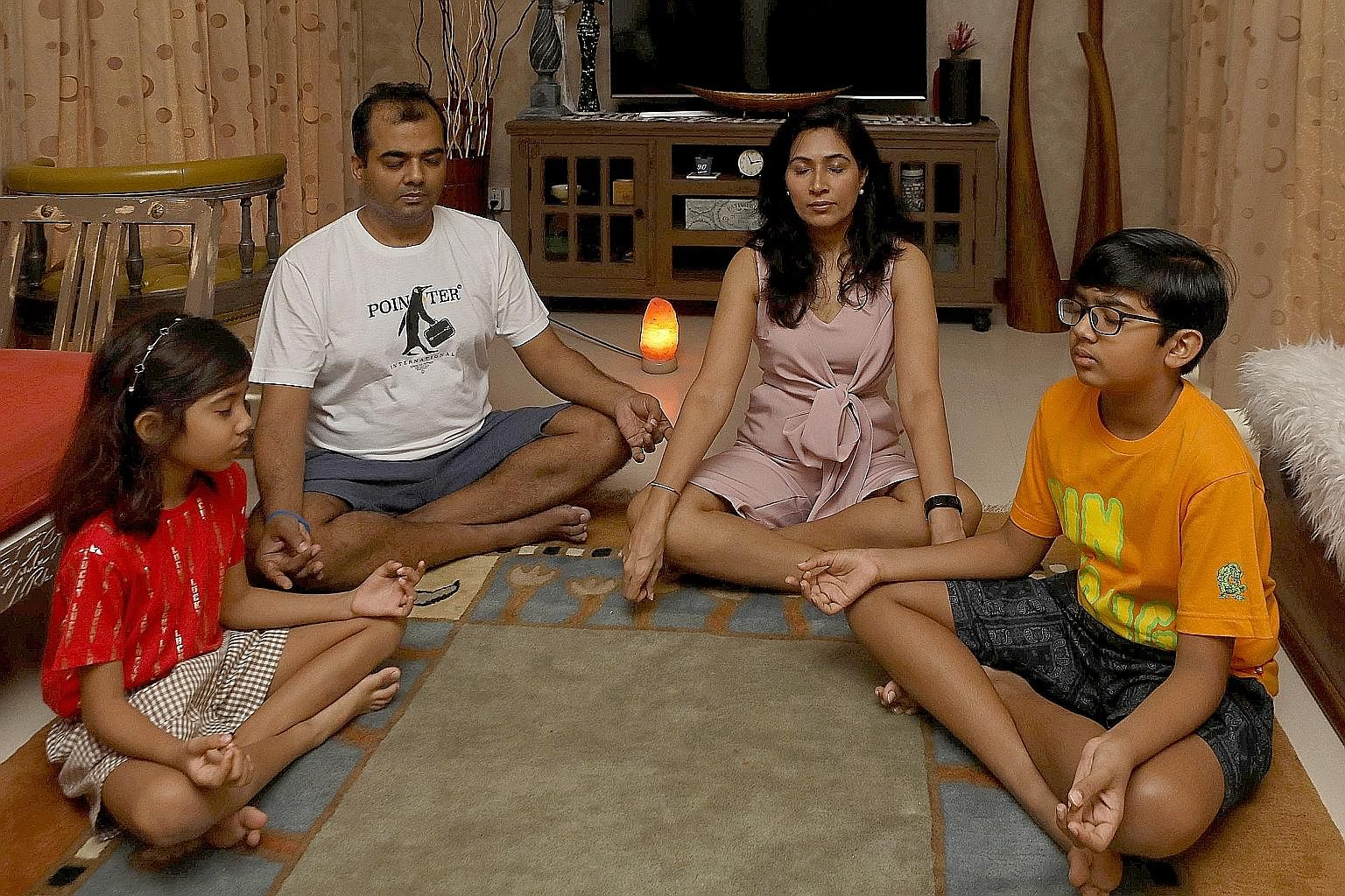 The circuit breaker was a stressful time for Mr Nikhil Gupta, his wife Pooja Kawatra and their children Aayan and Kaira, so he suggested the whole family take up meditation to destress.