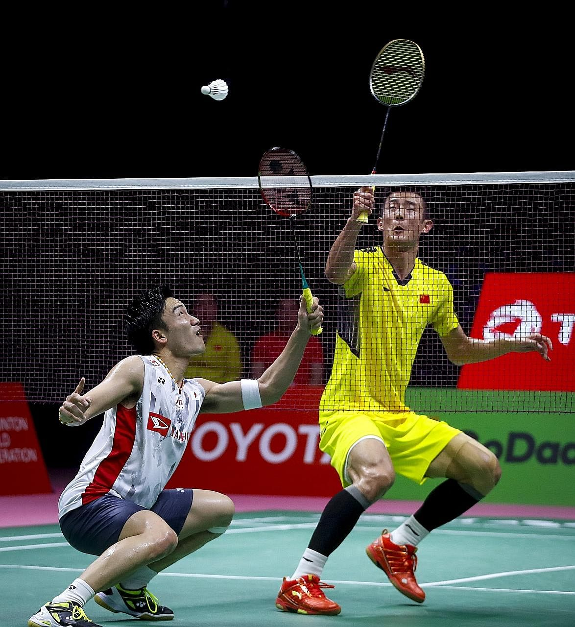 World No. 1 Kento Momota (left) will have to wait till next year if he is to avenge Japan's loss to China in the 2018 Thomas Cup final.