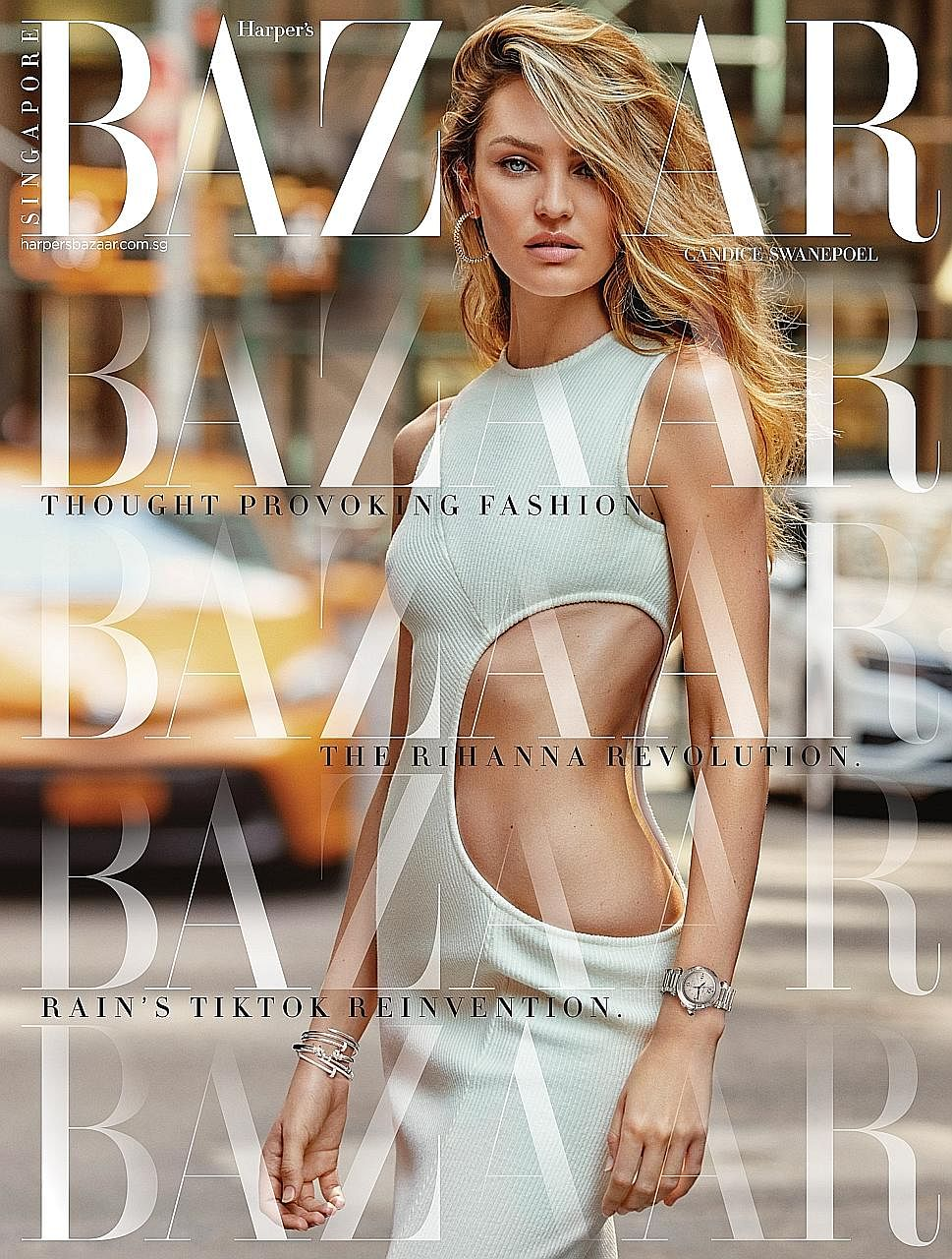 Harper's Bazaar's September 2020 issue featuring South African model Candice Swanepoel. The magazine recently underwent a revamp of its print and digital mediums. Harper's Bazaar Singapore editor-in-chief Kenneth Goh (left), and with influencers Iren