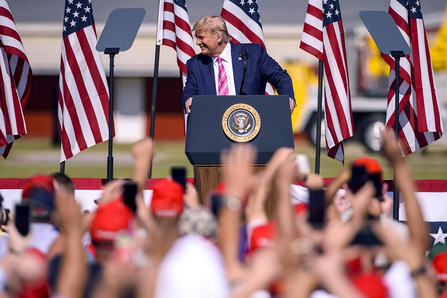 US President Donald Trump addresses a crowd during a campaign rally on Oct 24 2020 in Lumberton North Carolina