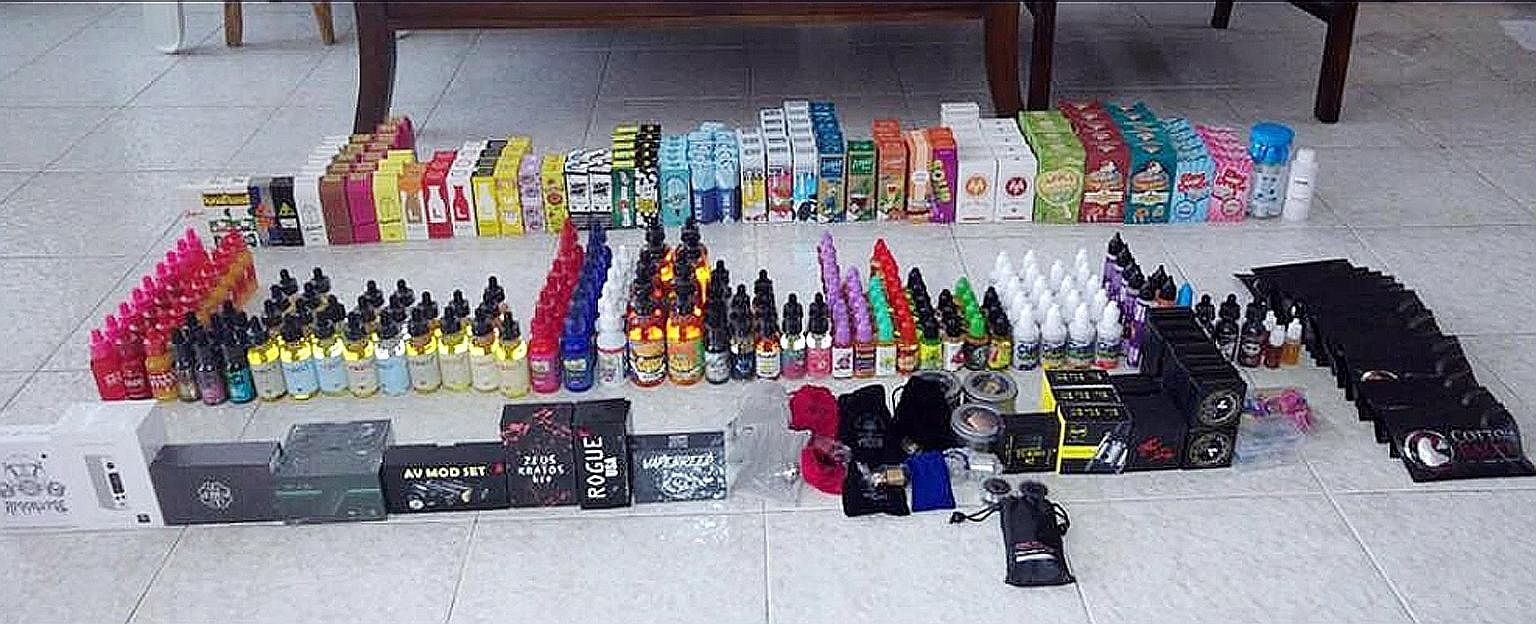 Electronic vaporisers and accessories seized as part of the Health Sciences Authority's enforcement activities against the illegal import and sale of such items in Singapore.