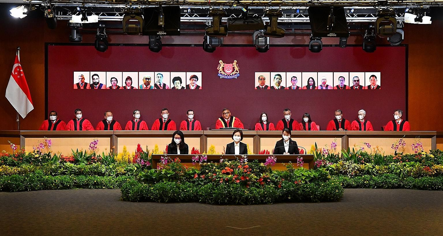 Chief Justice Sundaresh Menon (centre) delivering a speech to mark the opening of the legal year. The event was conducted virtually for the first time, with the proceedings live-streamed to about 1,000 participants.