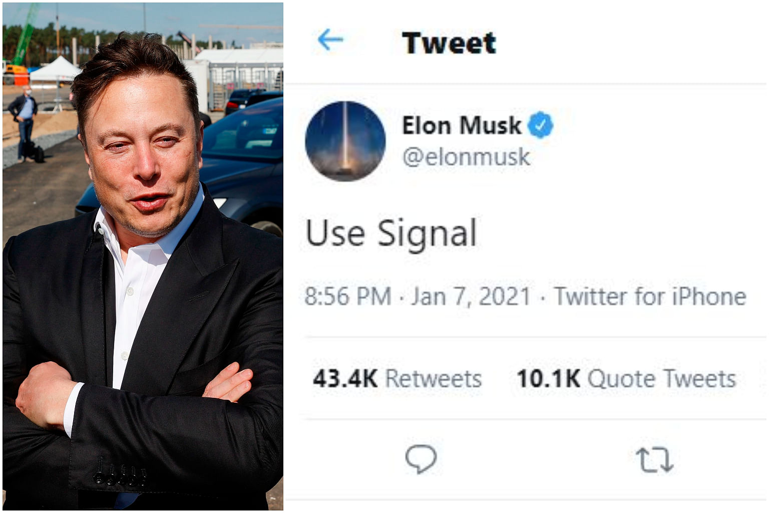 Elon Musk tweeted 'Use Signal' and investors sent wrong stock soaring  6,350%, Companies & Markets News & Top Stories - The Straits Times